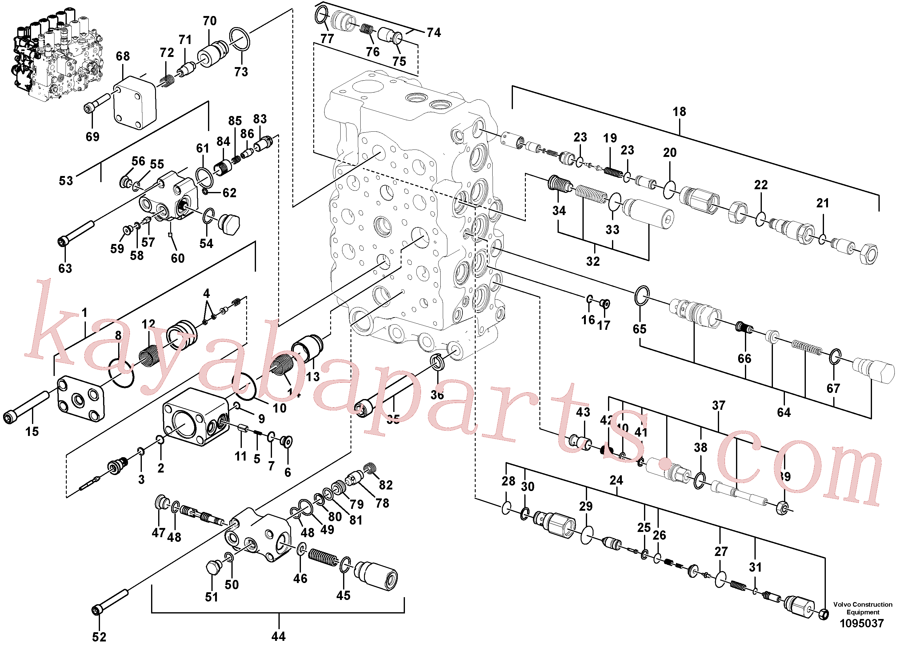 VOE60110249 for Volvo Main control valve(1095037 assembly)