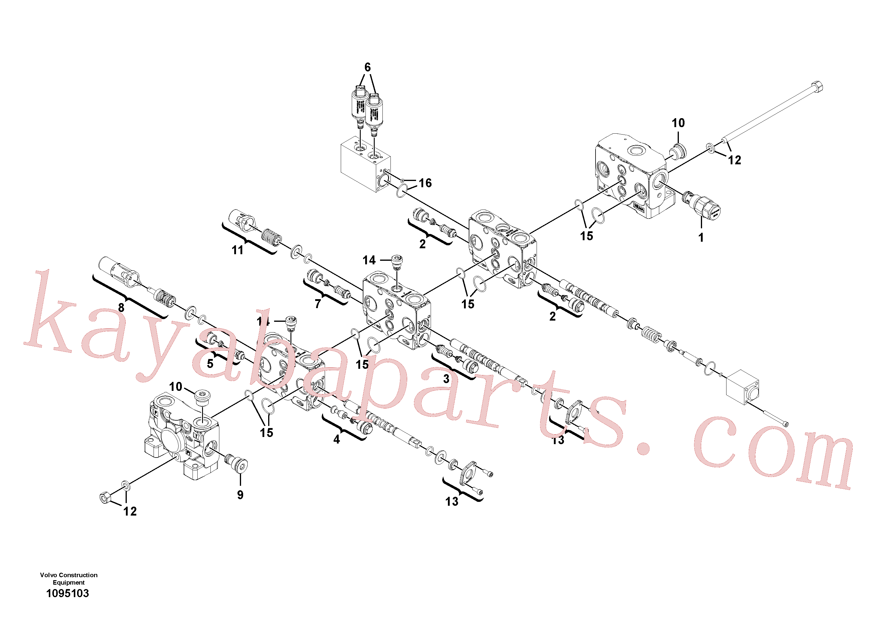 VOE11370785 for Volvo Control valve(1095103 assembly)