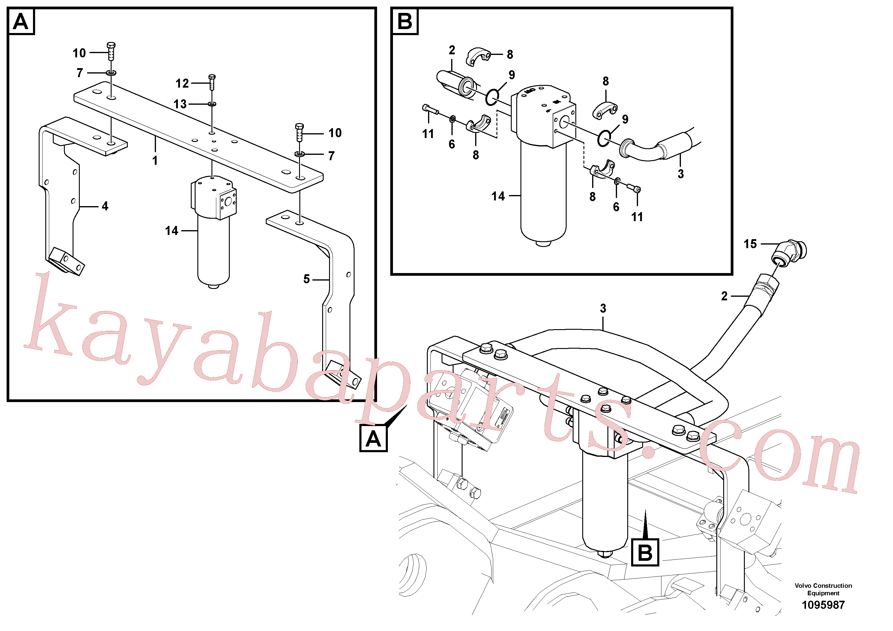 VOE14727999 for Volvo Working hydraulic, hammer and shear for return filter(1095987 assembly)