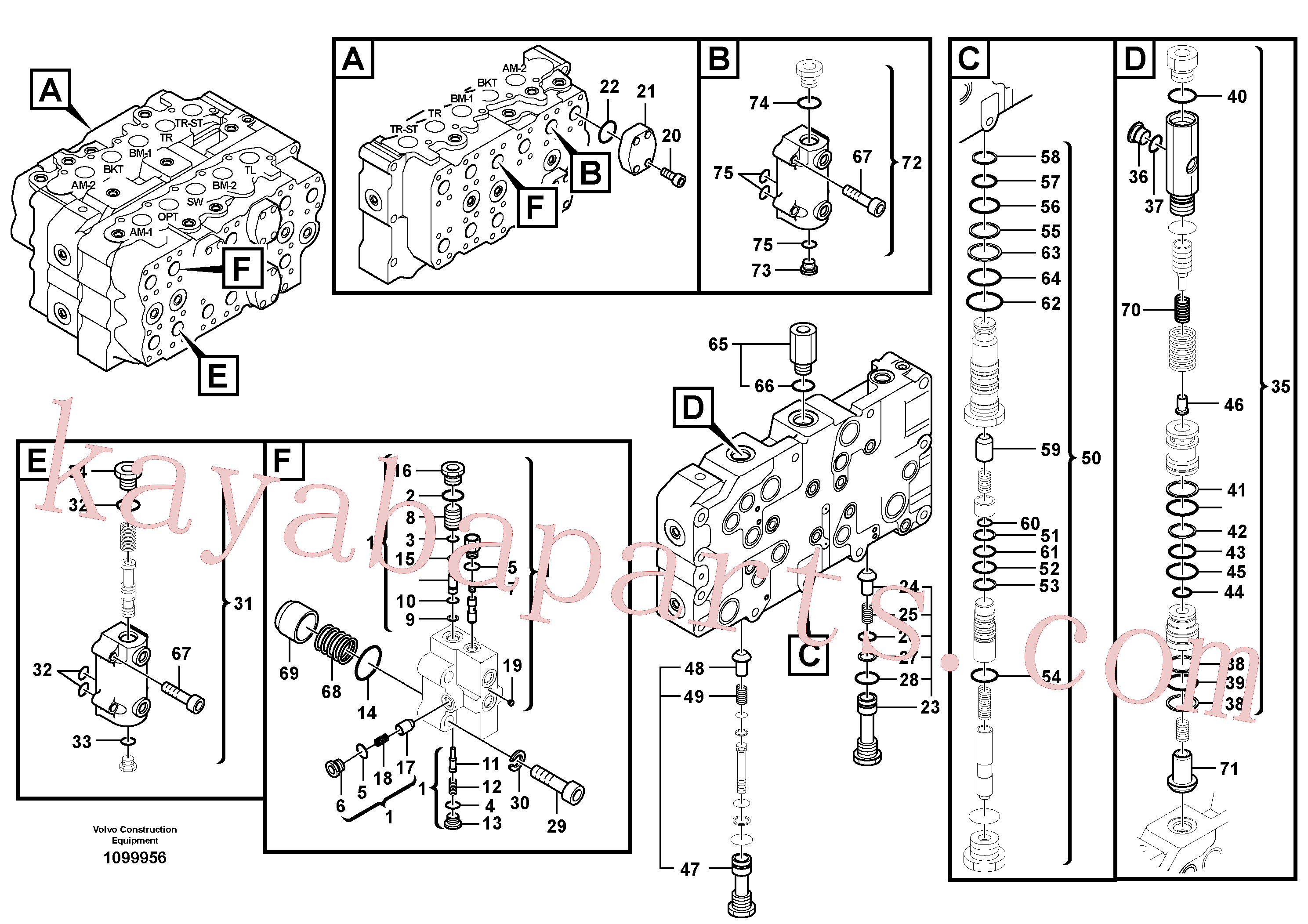 VOE14699830 for Volvo Main control valve(1099956 assembly)