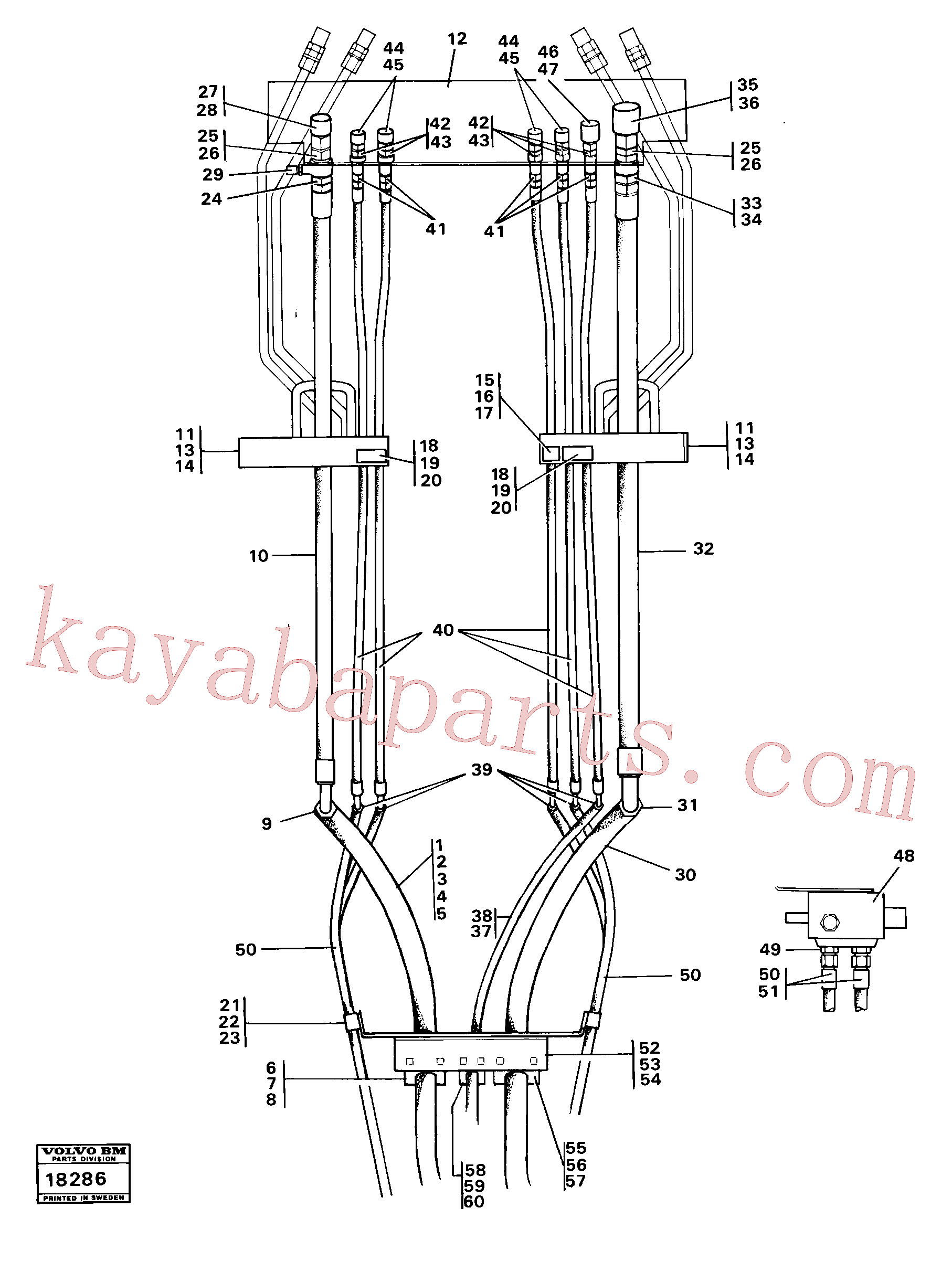 VOE4880596 for Volvo Hydraulic system, front, 5:th,6:th function.(18286 assembly)