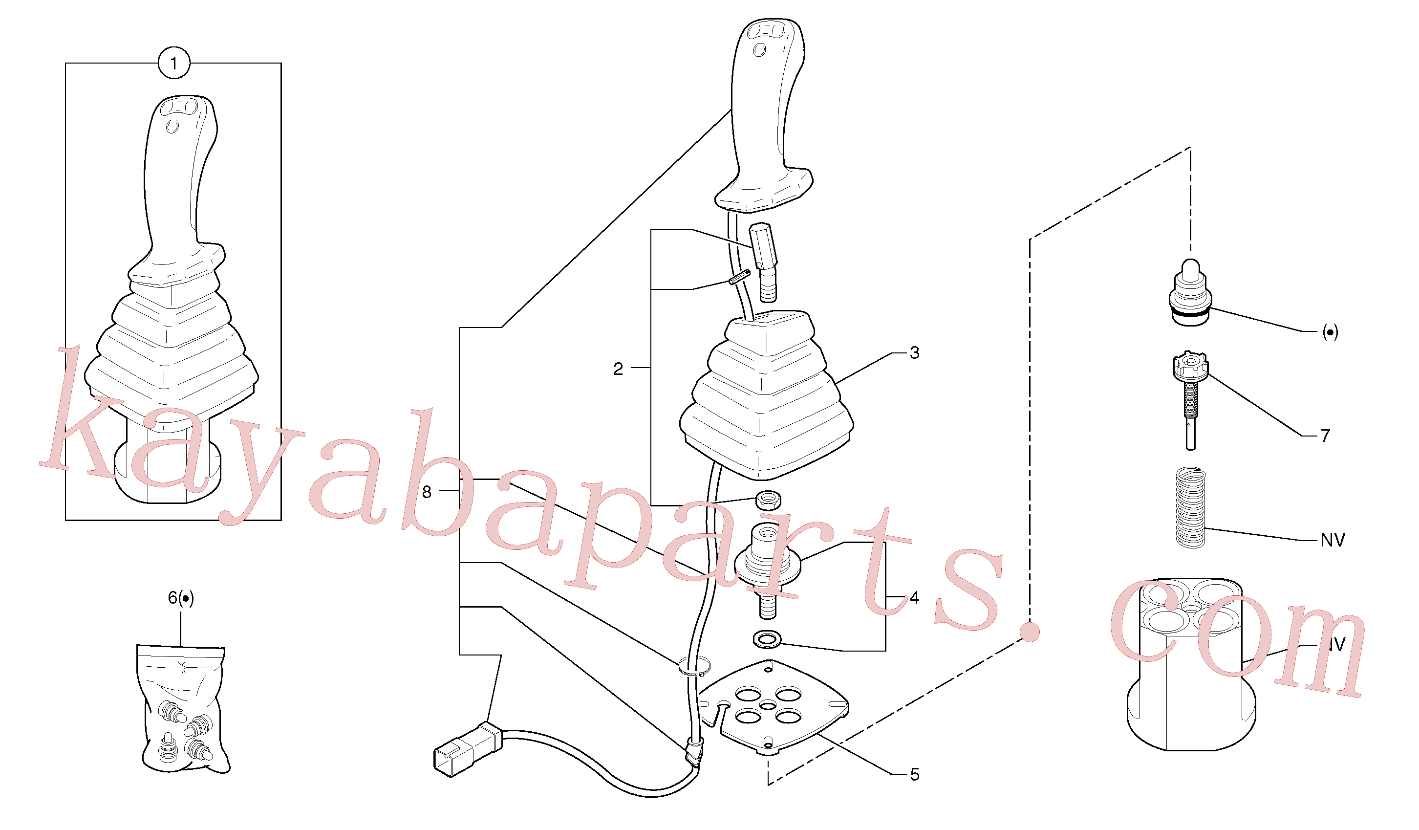 PJ5360310 for Volvo Control lever : boom / bucket ( right )(91422AX1 assembly)