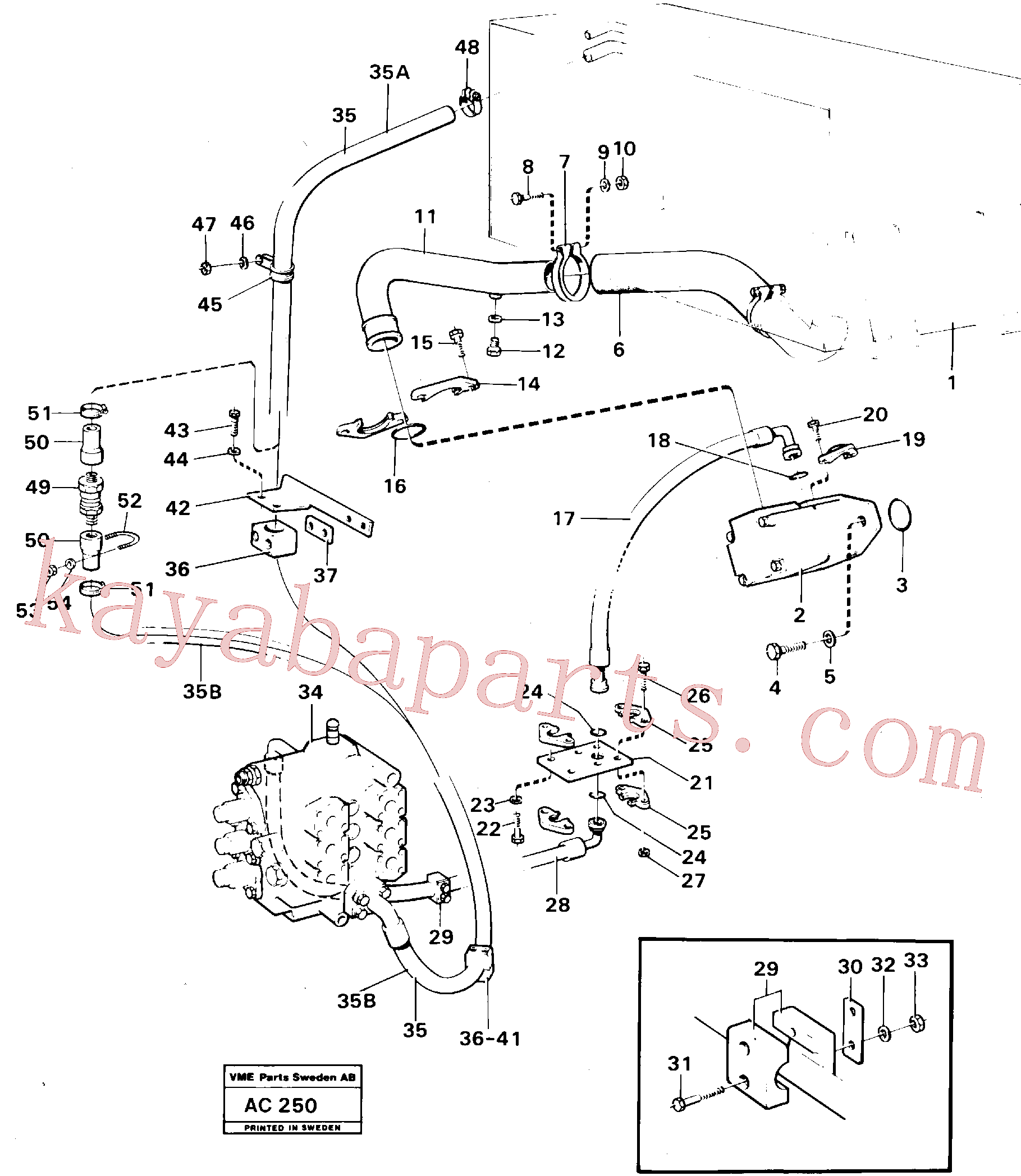 VOE968004 for Volvo Hydraulic system: feed lines(AC250 assembly)