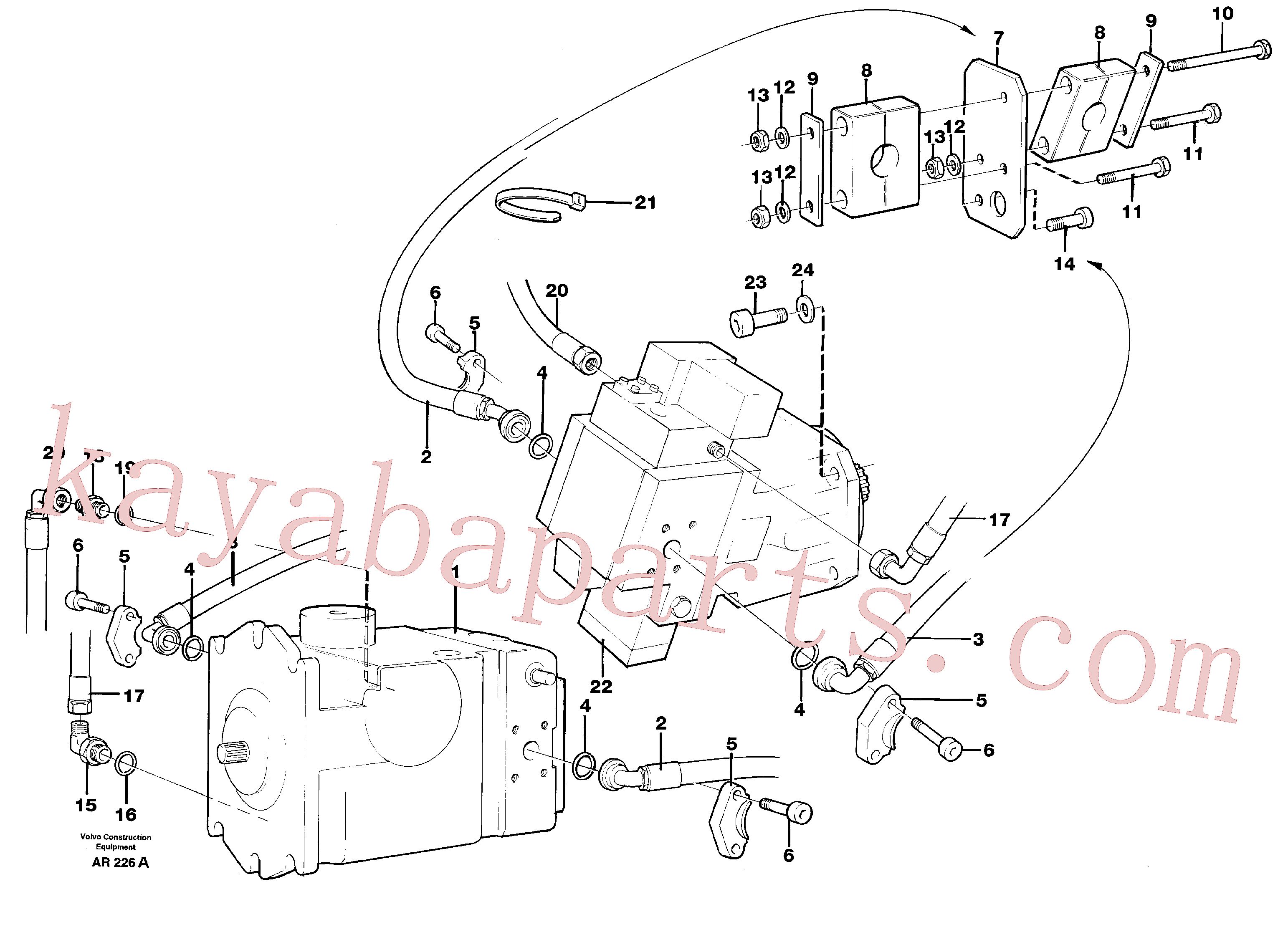 VOE959276 for Volvo Hoses, Pump - hydraulic motor(AR226A assembly)