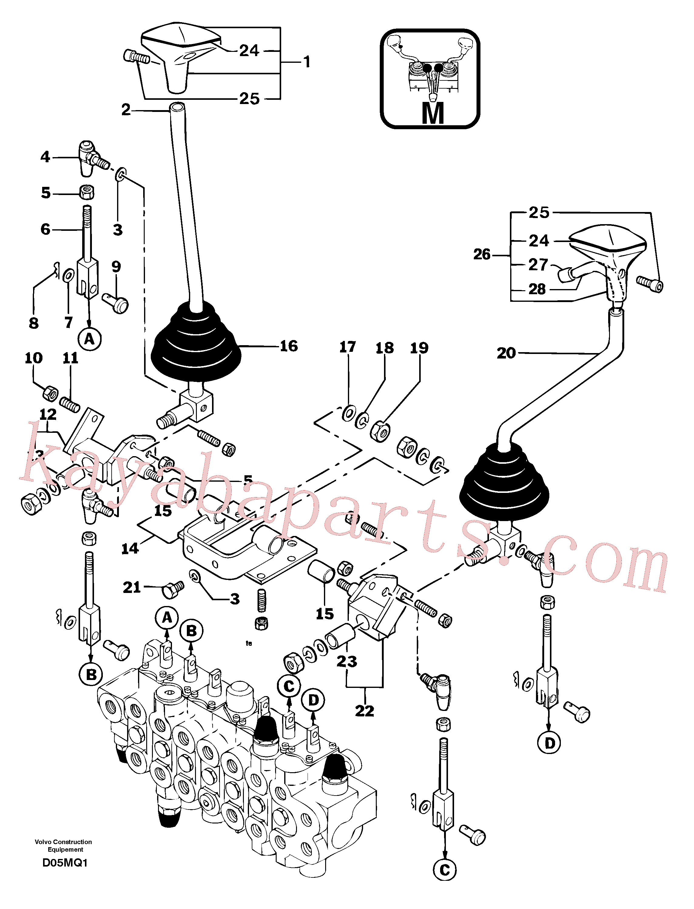 PJ7413003 for Volvo Control levers : boom/dipper arm/ bucket/ slewing(D05MQ1 assembly)