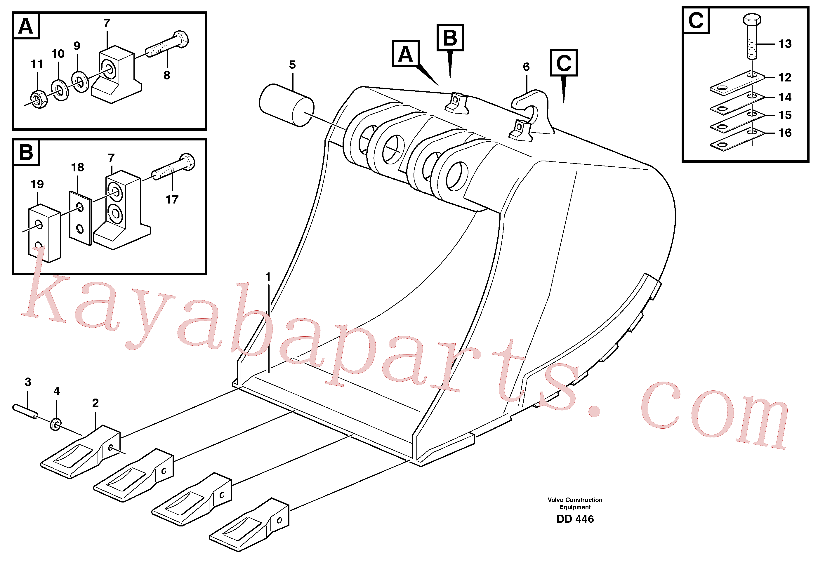 VOE14239730 for Volvo Buckets for quickfit, S1 - S2(DD446 assembly)