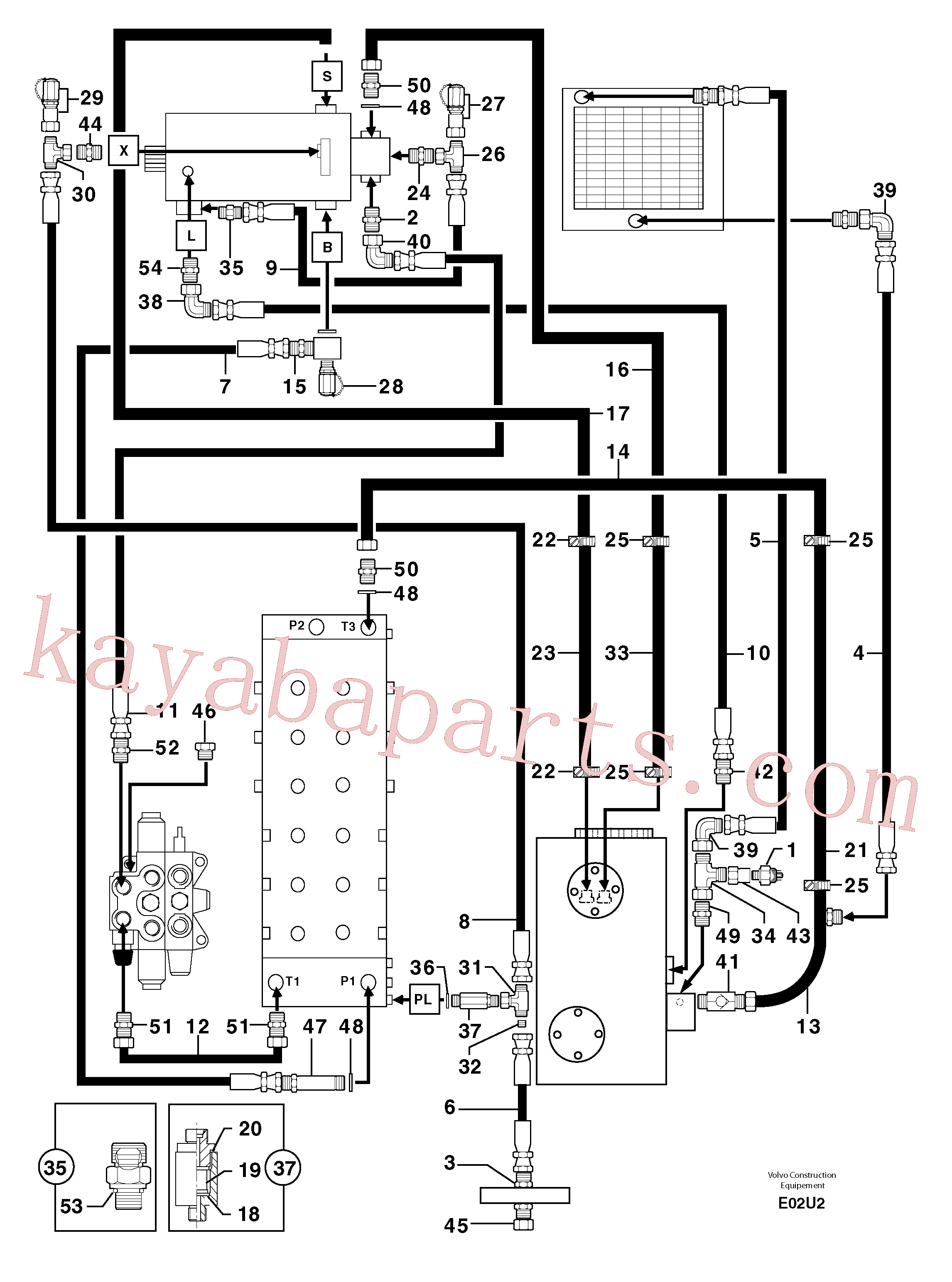 PJ6010154 for Volvo Attachments supply and return circuit(E02U2 assembly)