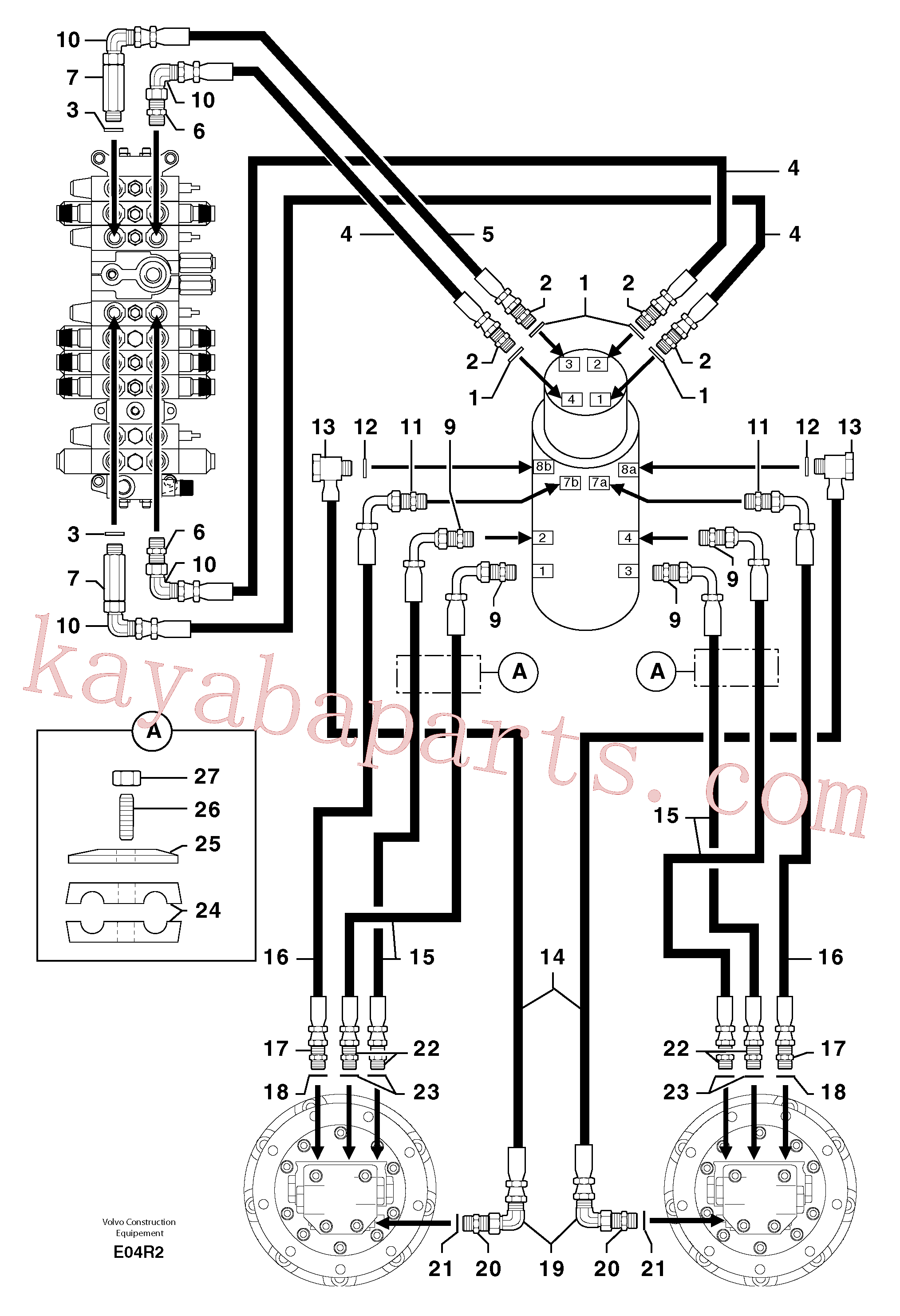 PJ3770044 for Volvo Hydr. circuit. ( travelling )(E04R2 assembly)