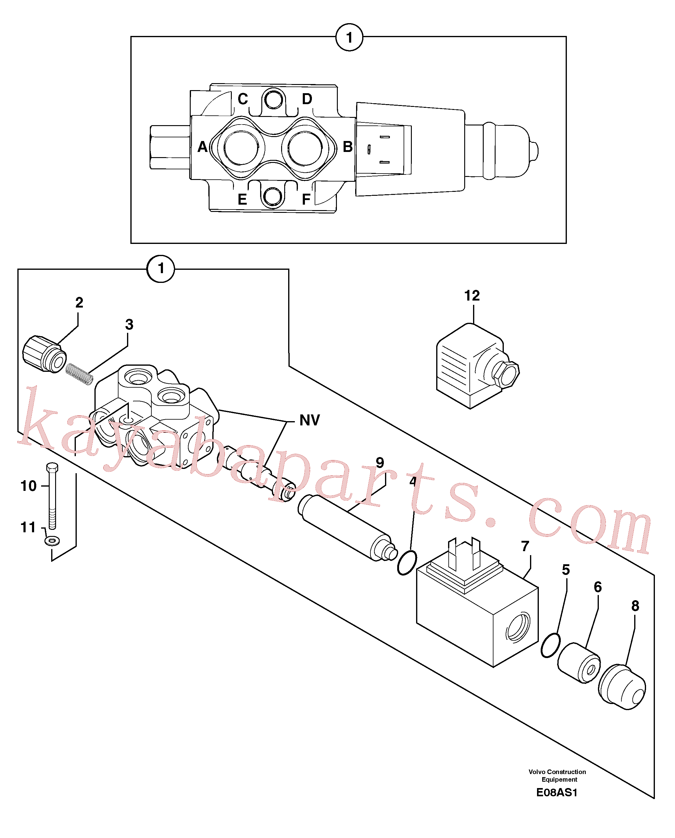 PJ7415994 for Volvo Slewing-offset selector switch ( for valve )(E08AS1 assembly)