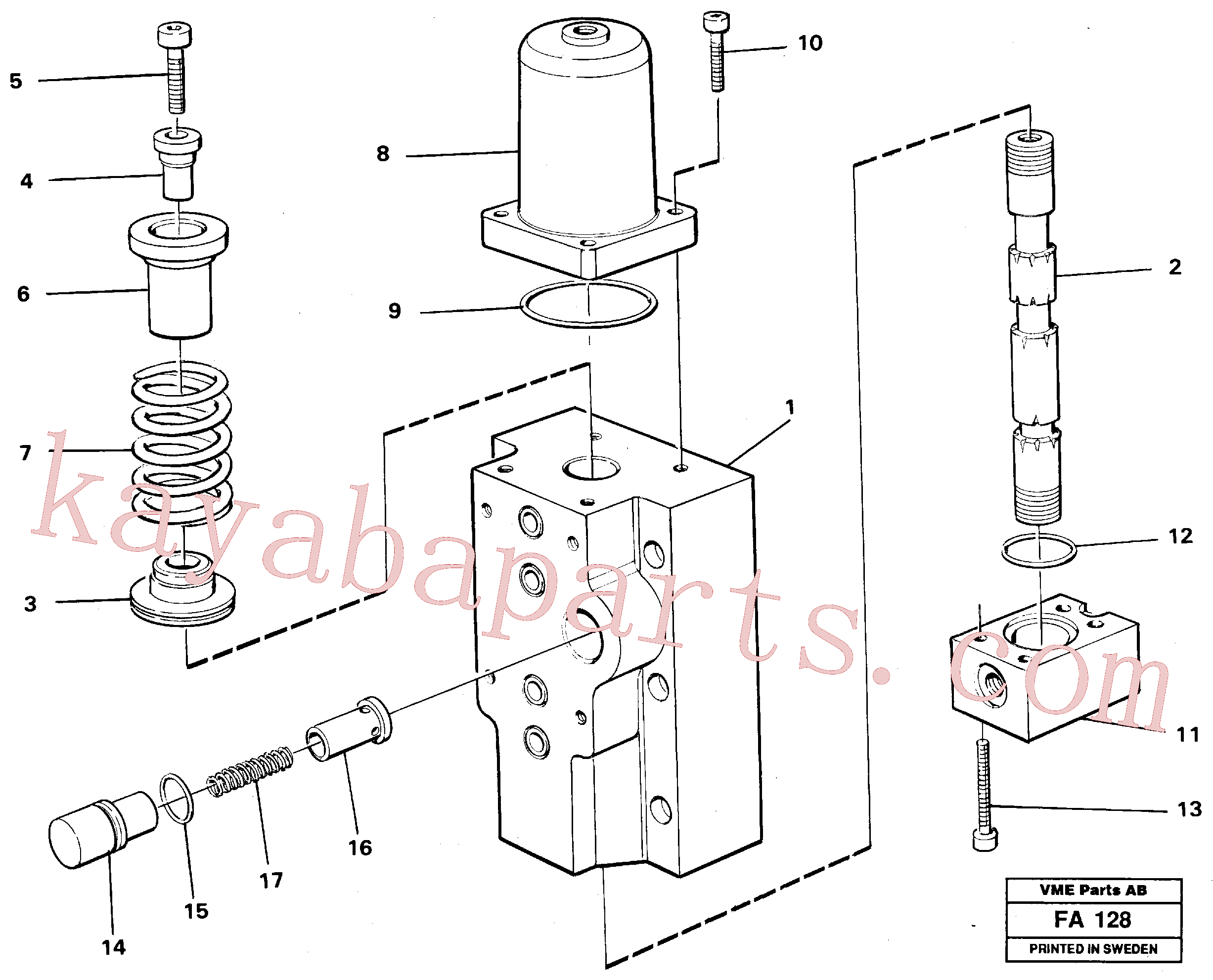 VOE14258011 for Volvo Four-way valve for hammer/shears, Four-way valves Primary(FA128 assembly)