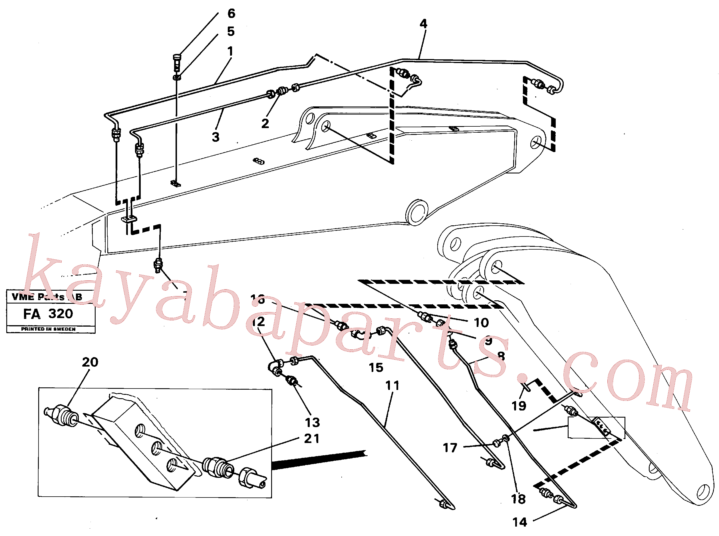 VOE14261410 for Volvo Backhoe lubricating. Adjustable boom.(FA320 assembly)