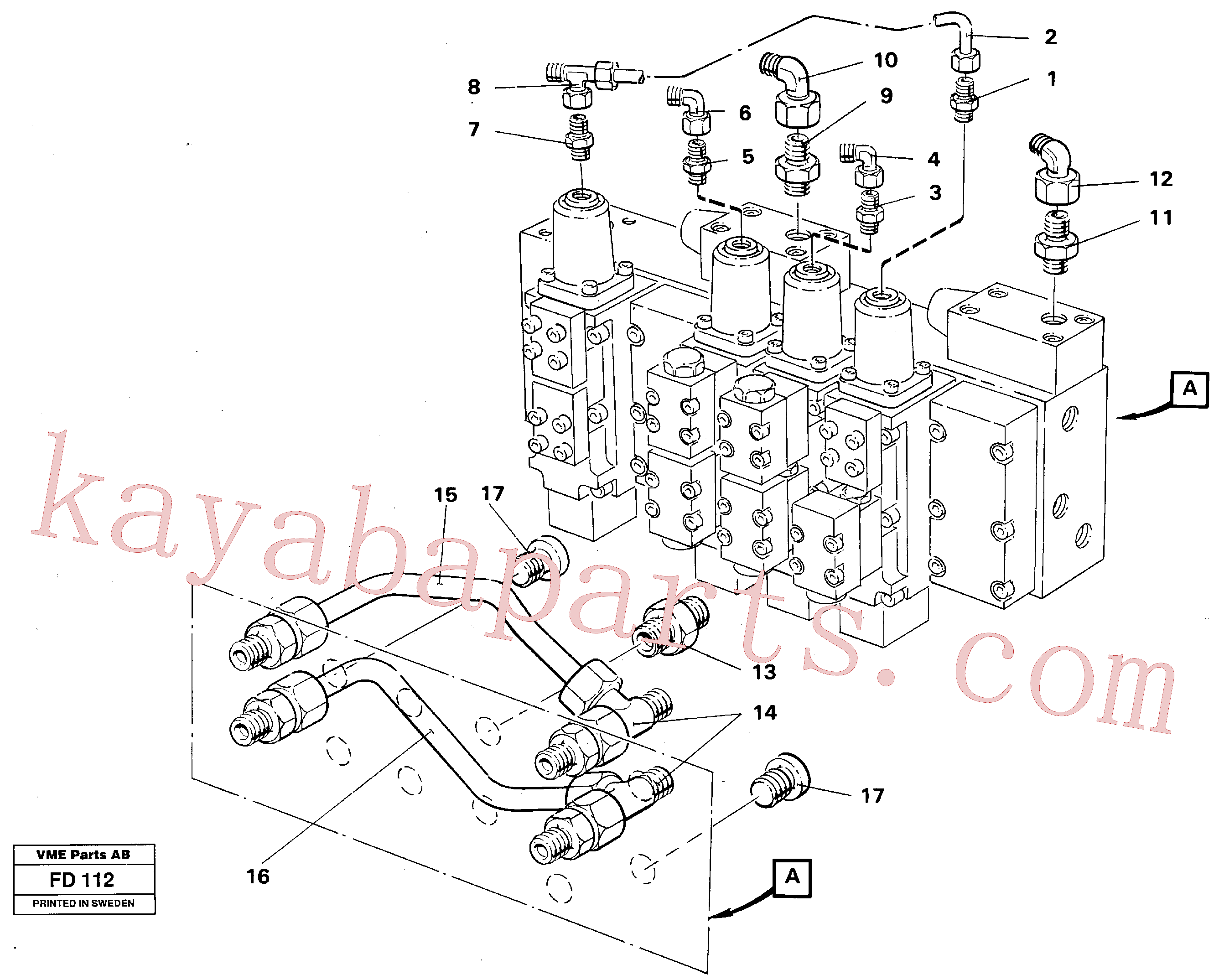 VOE13964042 for Volvo Main valve assembly tubes connections(FD112 assembly)