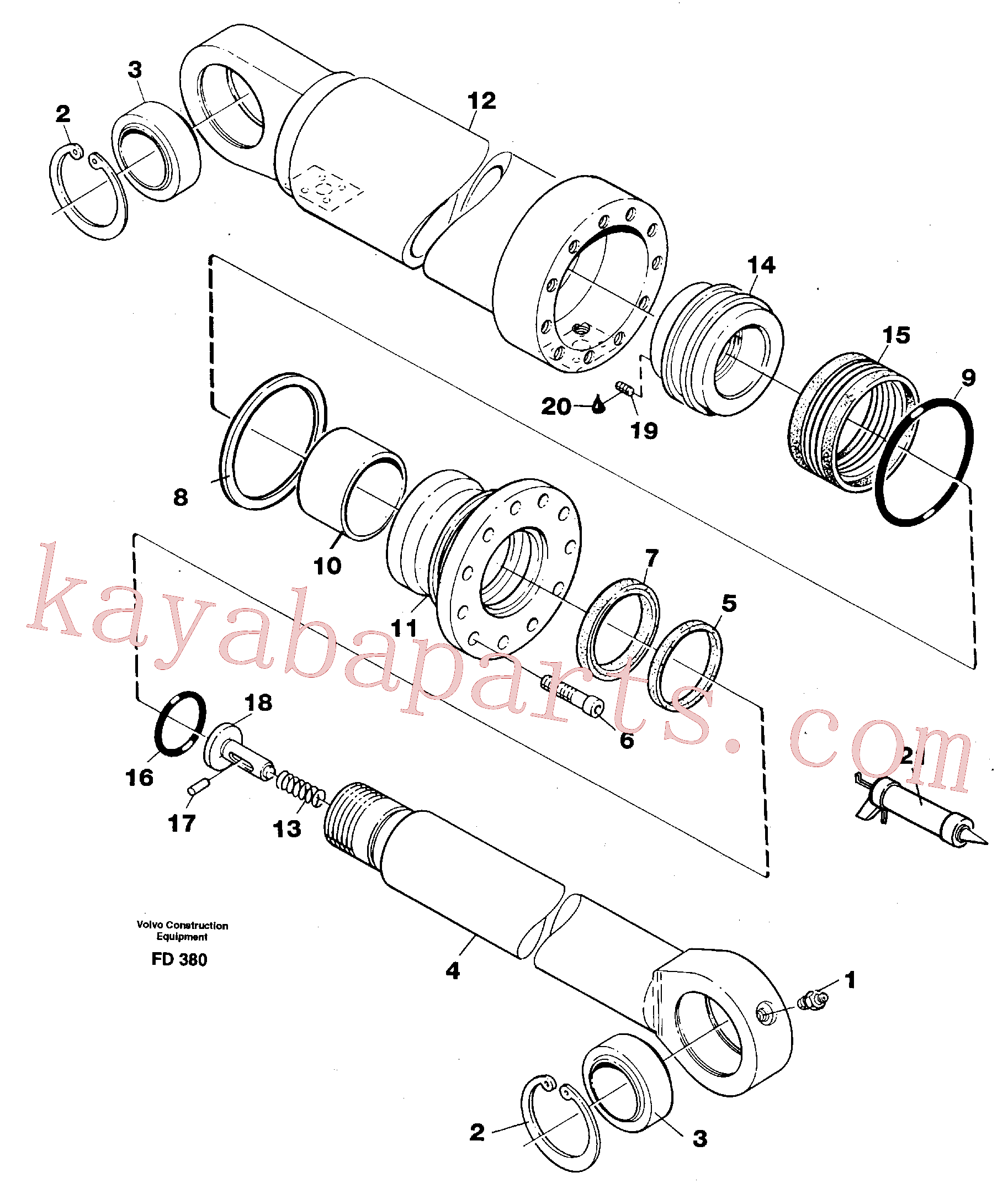 VOE11709519 for Volvo Hydraulic cylinder, stabilisor(FD380 assembly)