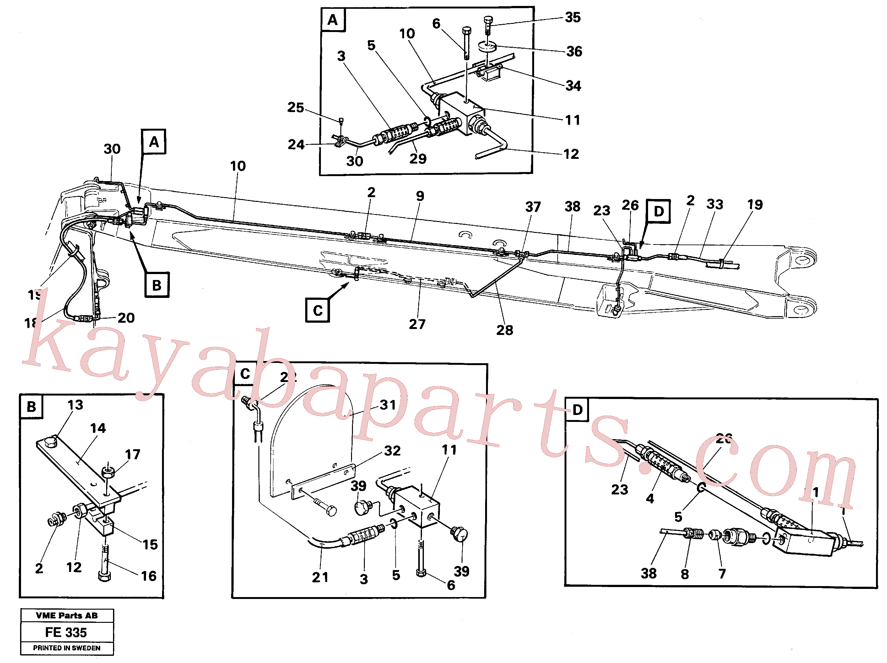 VOE14251356 for Volvo Automatic lubrication, boom, handling equipment(FE335 assembly)