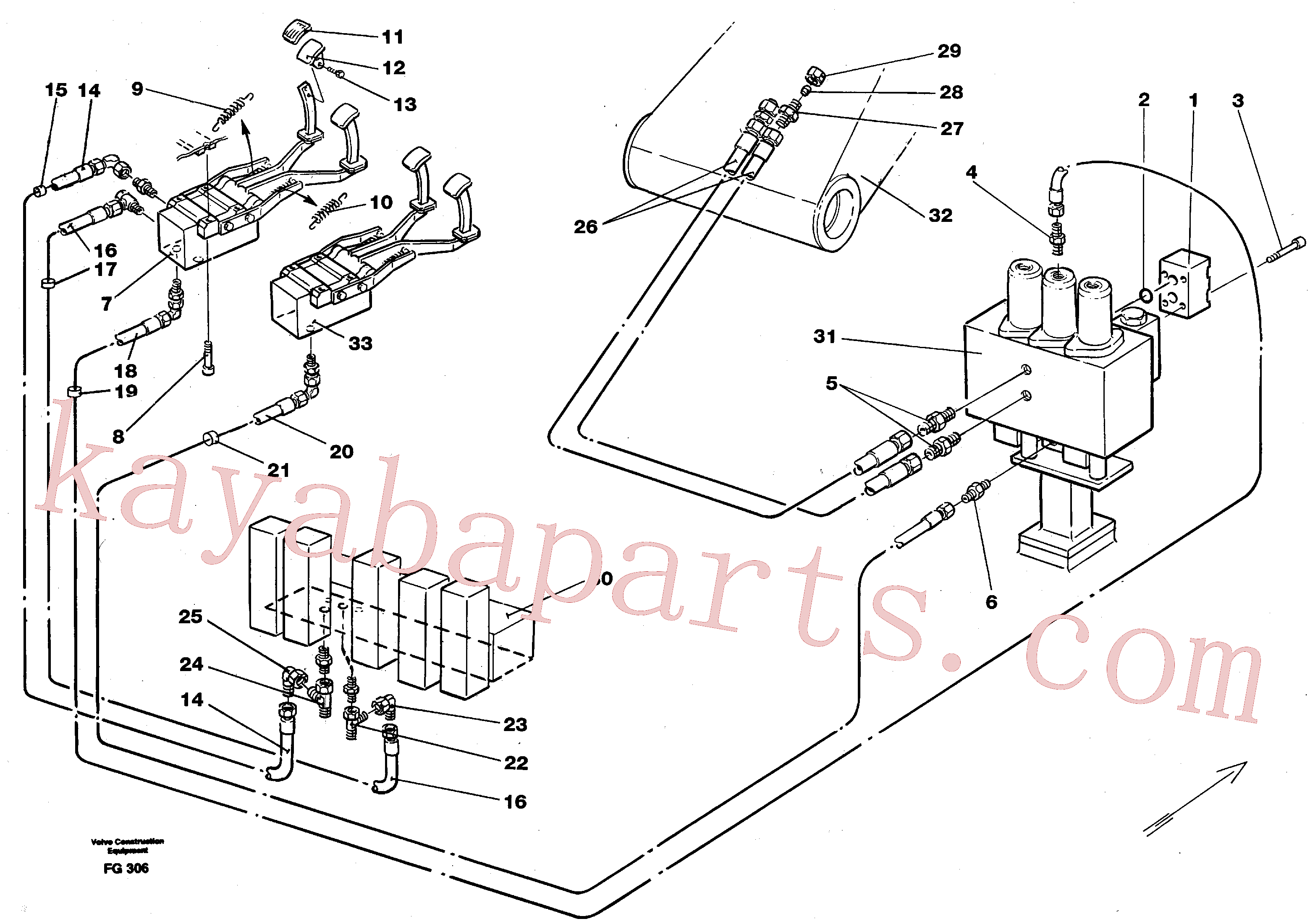 VOE14213151 for Volvo Slope bucket/rotating grab hydraulics in base machine(FG306 assembly)