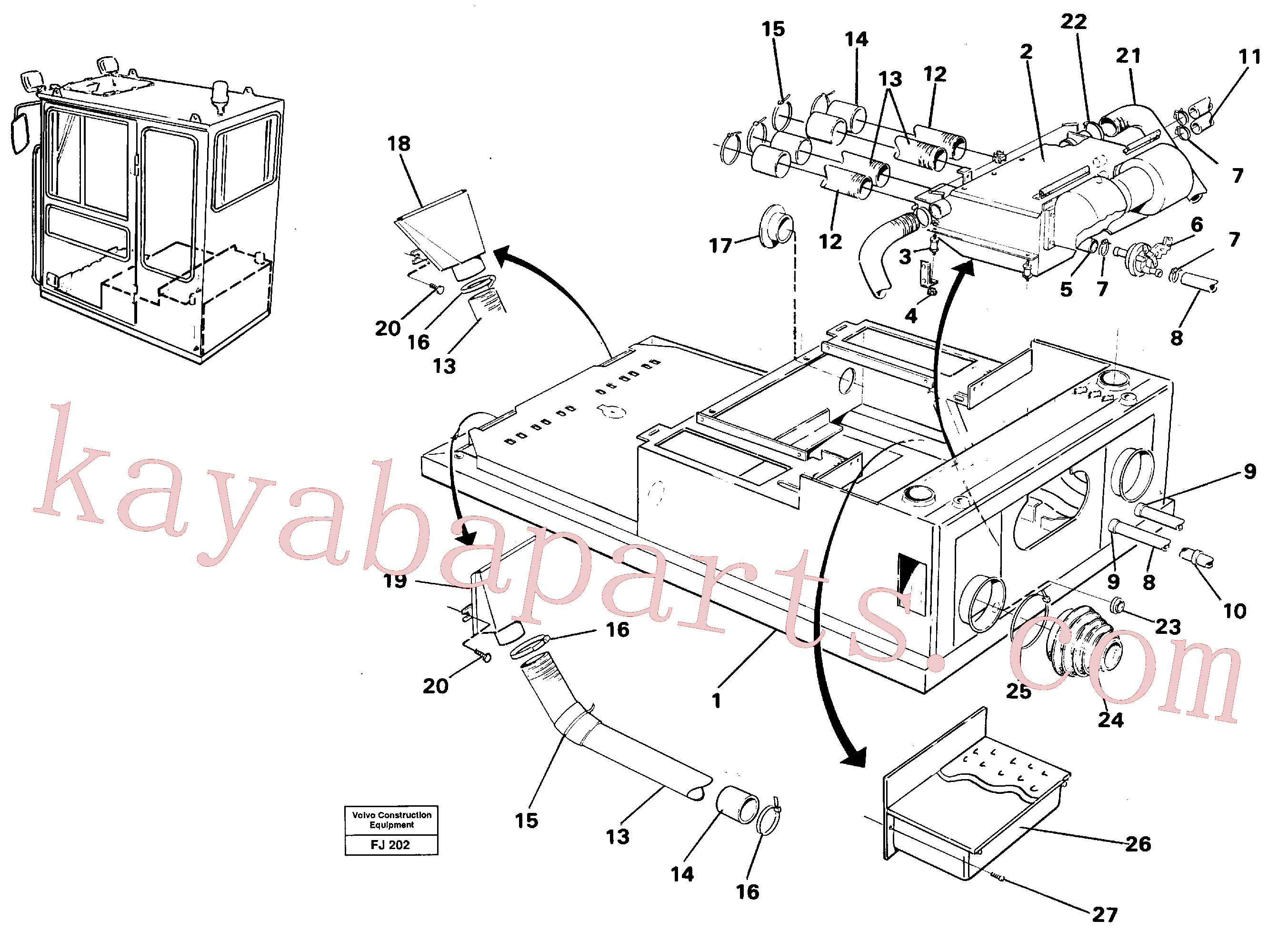 VOE14245652 for Volvo Cab heater with fitting parts(FJ202 assembly)