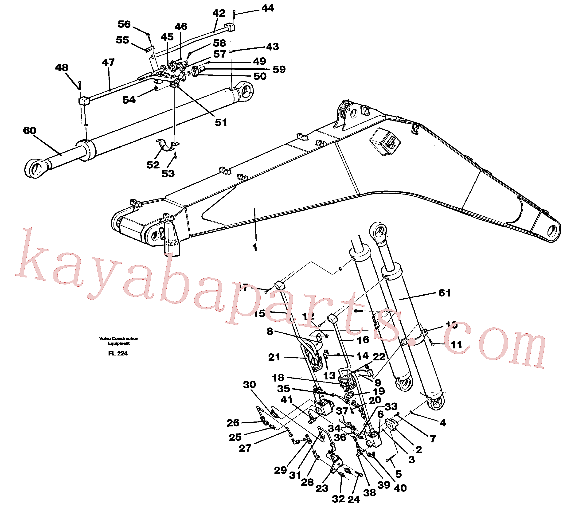 VOE14257335 for Volvo Cylinder hydraulics, backhoe boom 6.65m(FL224 assembly)