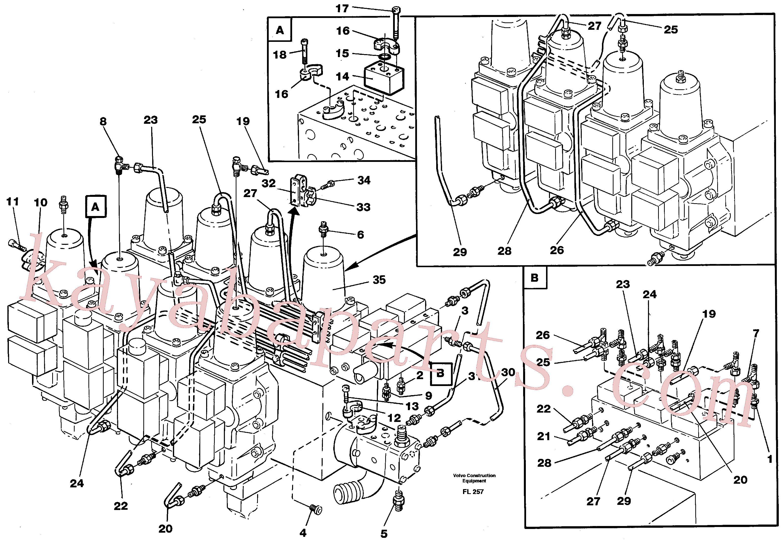 VOE14261306 for Volvo Main valve assembly, tubes connections(FL257 assembly)