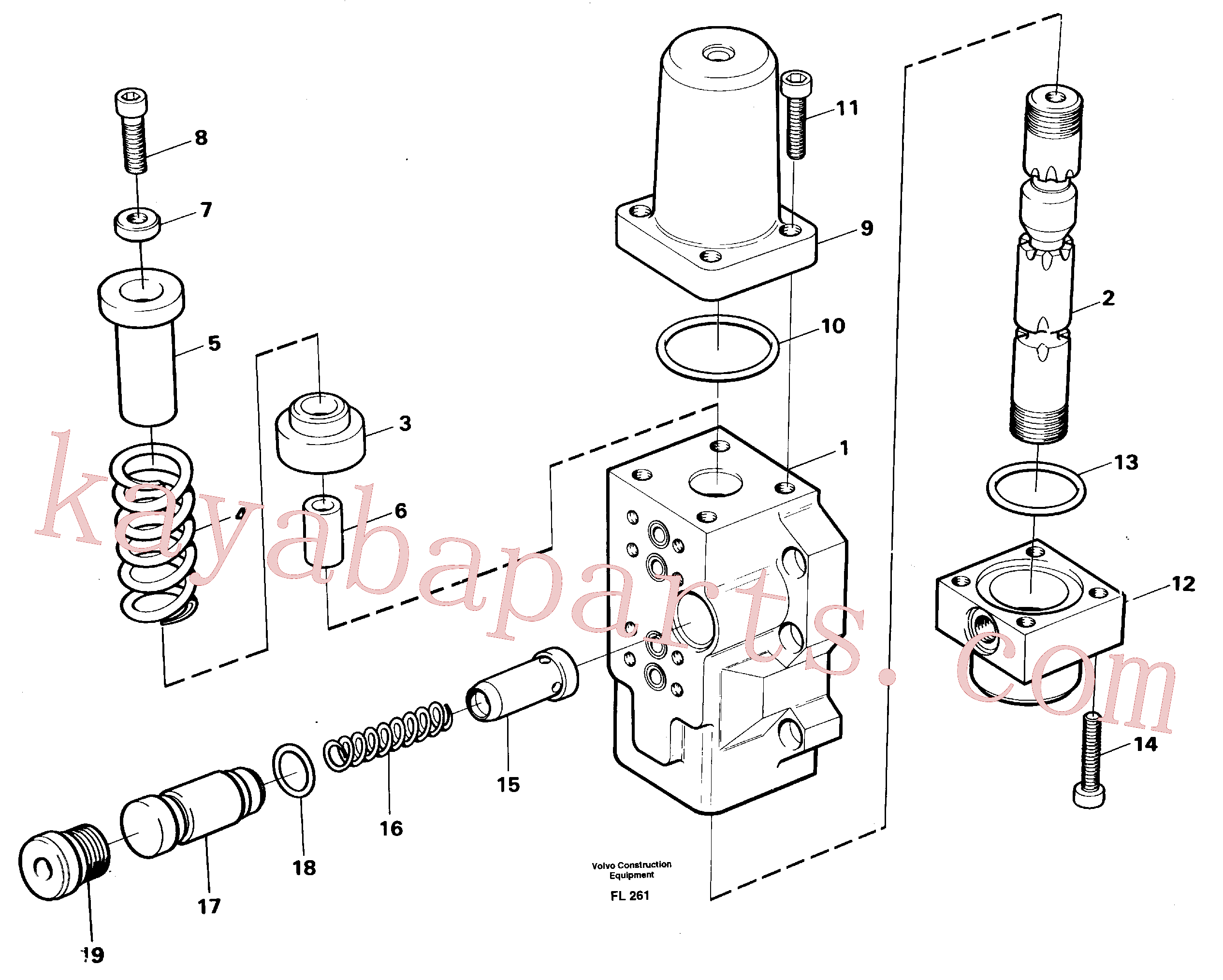 VOE959263 for Volvo Four-way valve, boom primary(FL261 assembly)