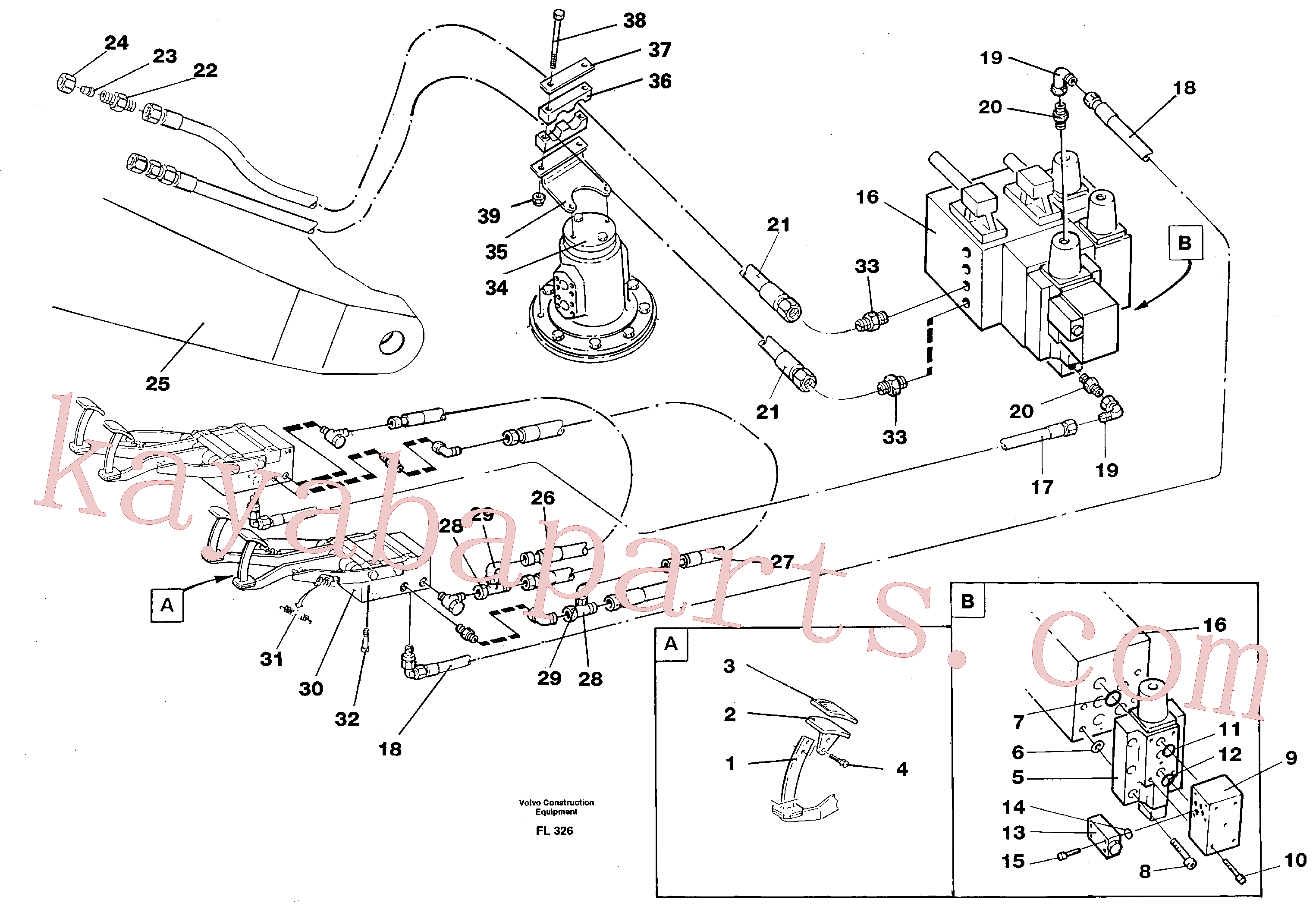VOE14213151 for Volvo Slope bucket/rotating grab hydraulics in base machine(FL326 assembly)