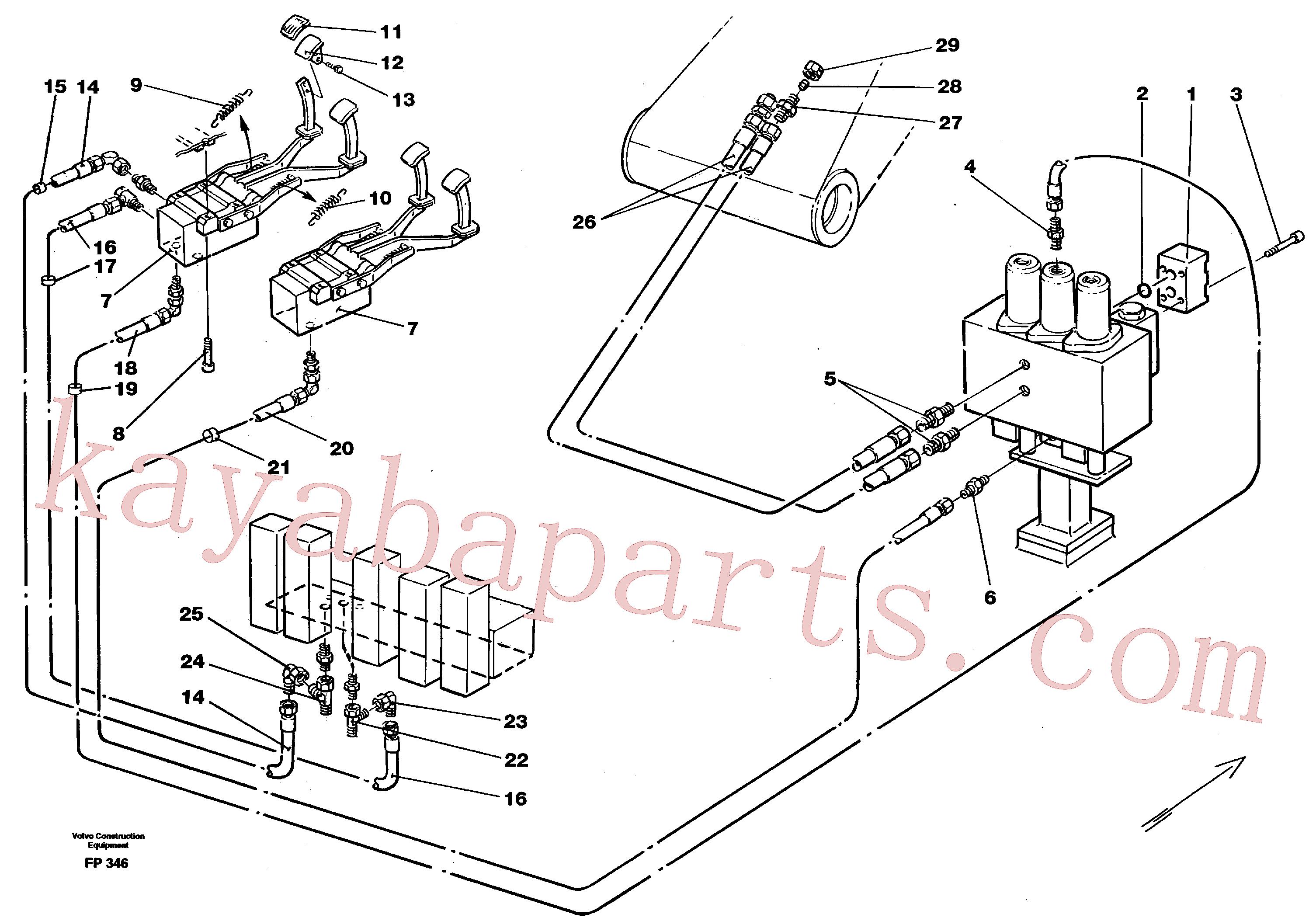 VOE14213151 for Volvo Slope bucket/rotating grab hydraulics in base machine(FP346 assembly)