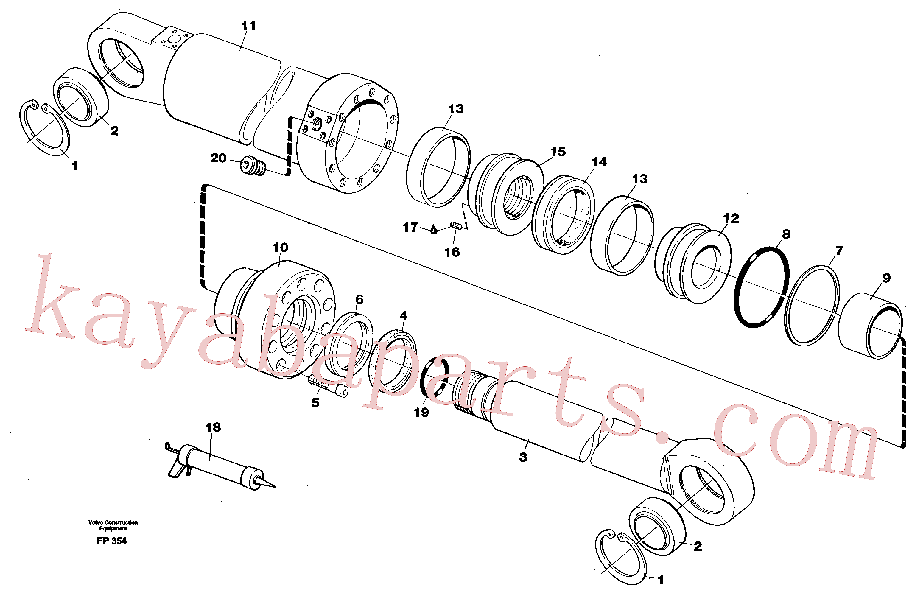 VOE914544 for Volvo Hydraulic cylinder, dozer blade(FP354 assembly)