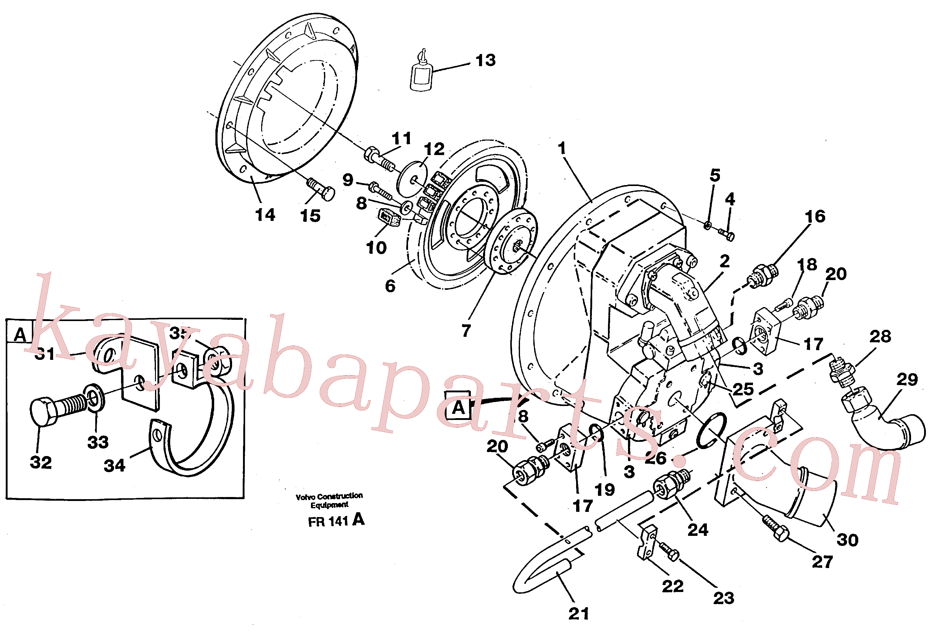 VOE925068 for Volvo Pump gear box with assemblying parts(FR141A assembly)
