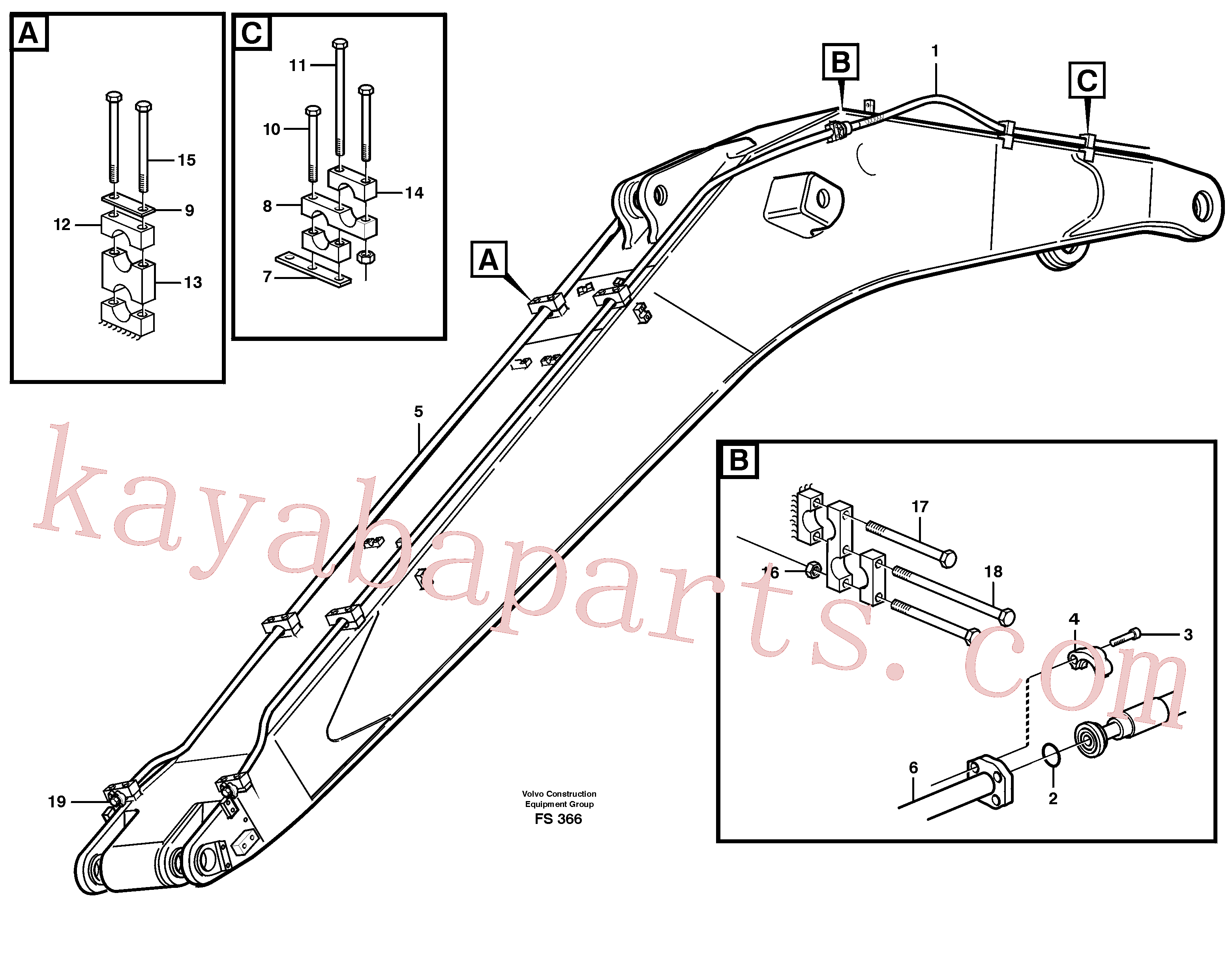 VOE14257704 for Volvo Hydraulics for hammer on boom 6.65 M(FS366 assembly)