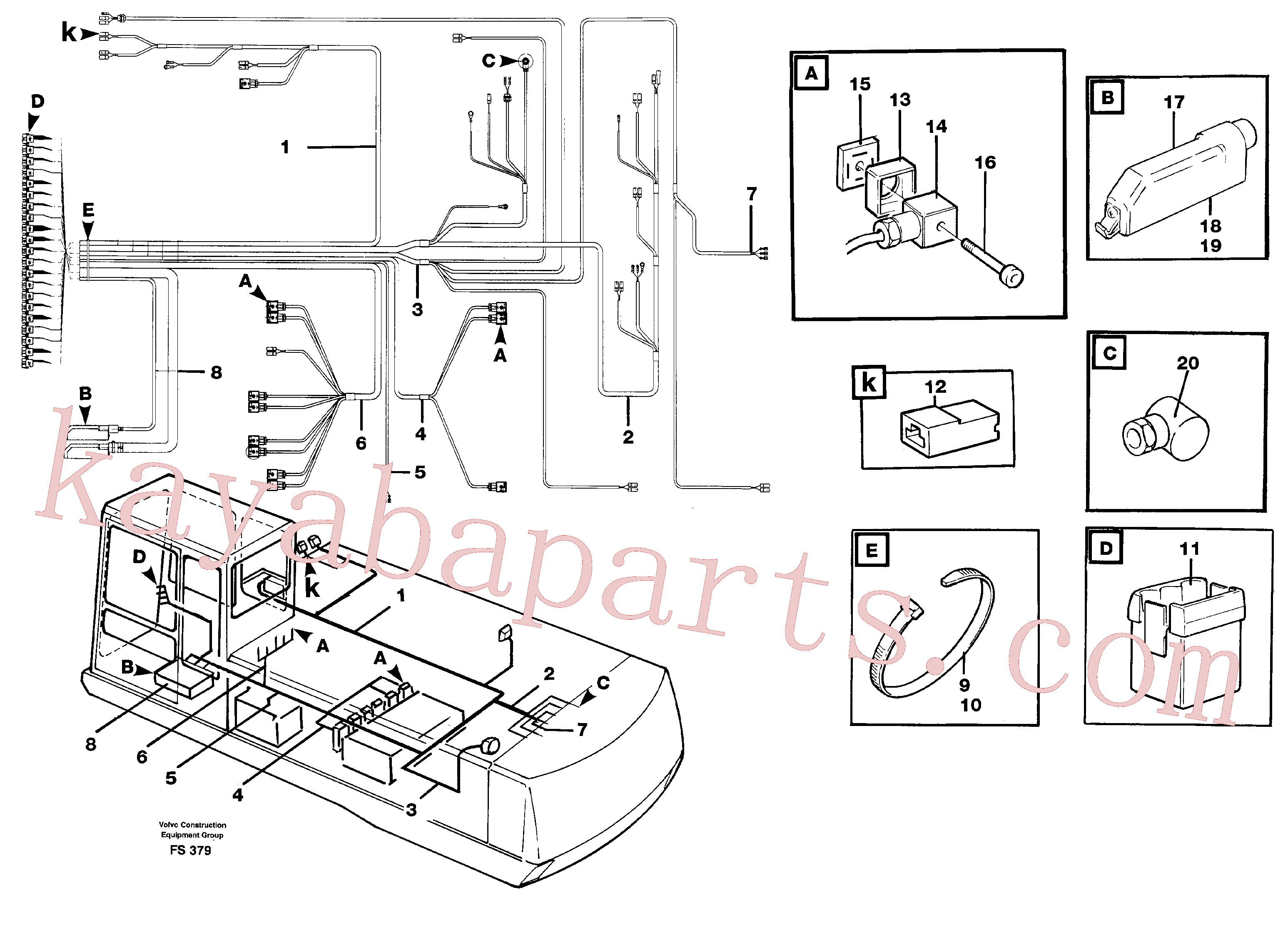VOE14023707 for Volvo Cable harness, upper section(FS379 assembly)