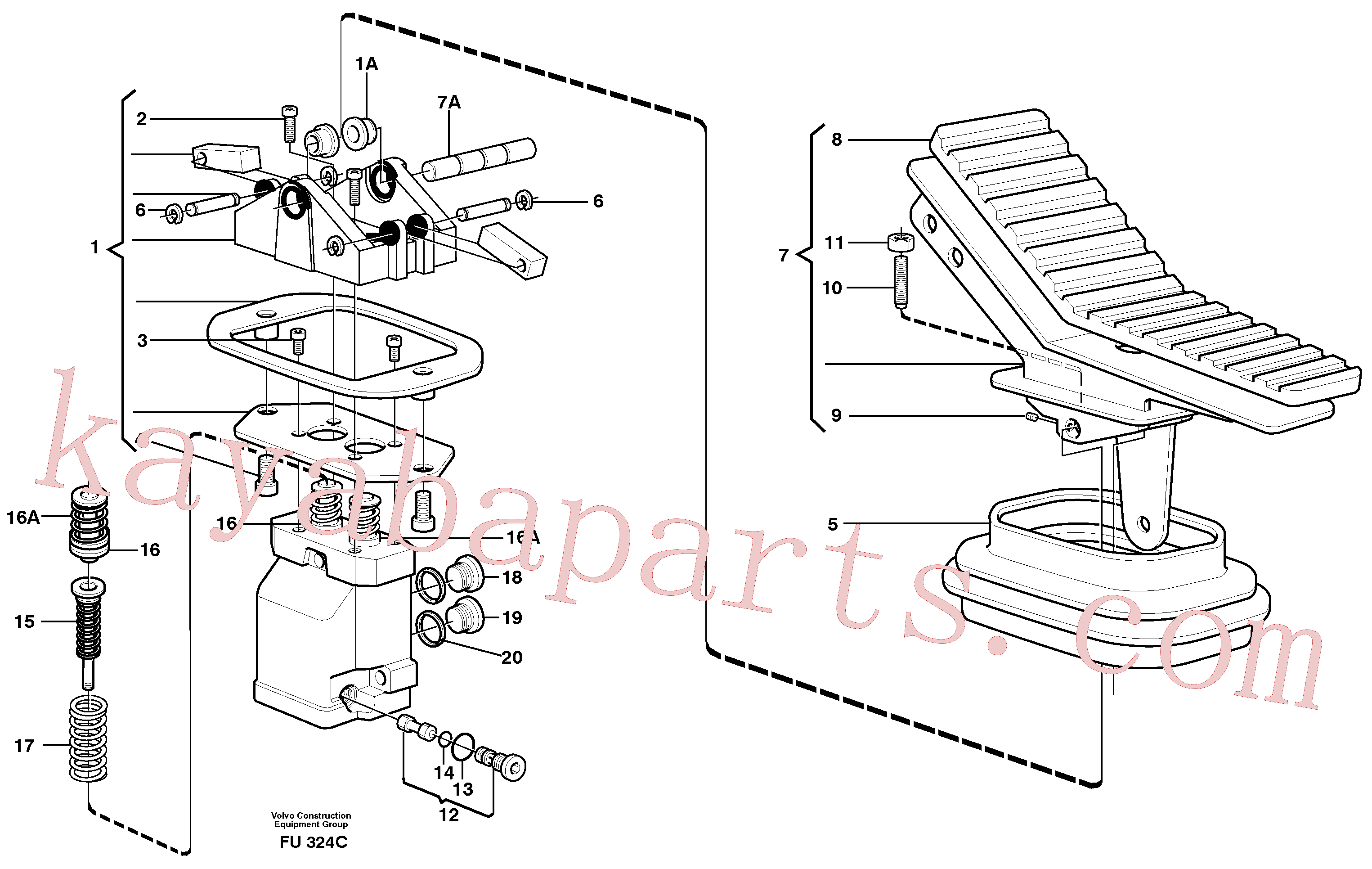 VOE11702898 for Volvo Pedal valve(FU324C assembly)