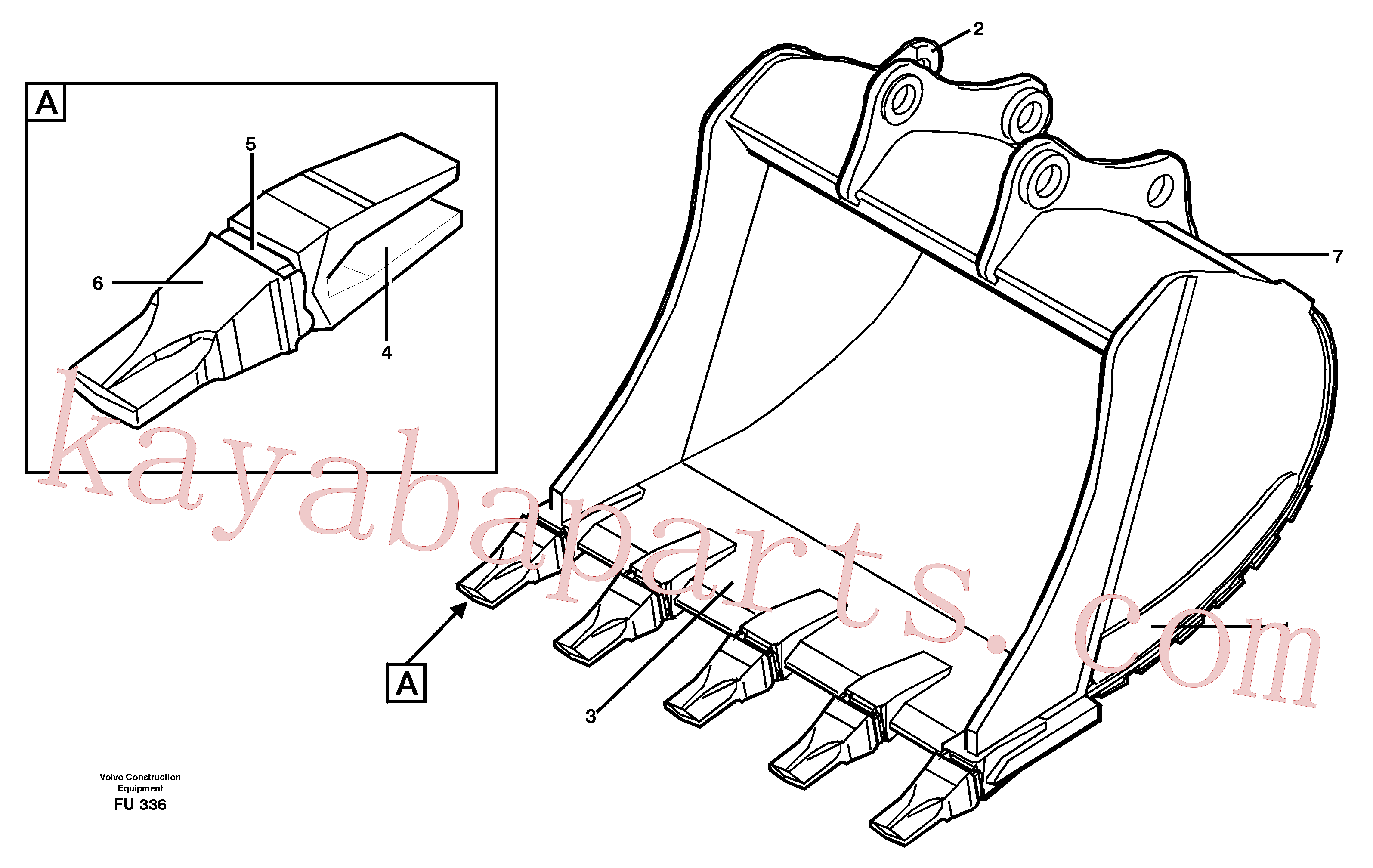 VOE14323212 for Volvo Buckets, direct fitting Combi Parts(FU336 assembly)