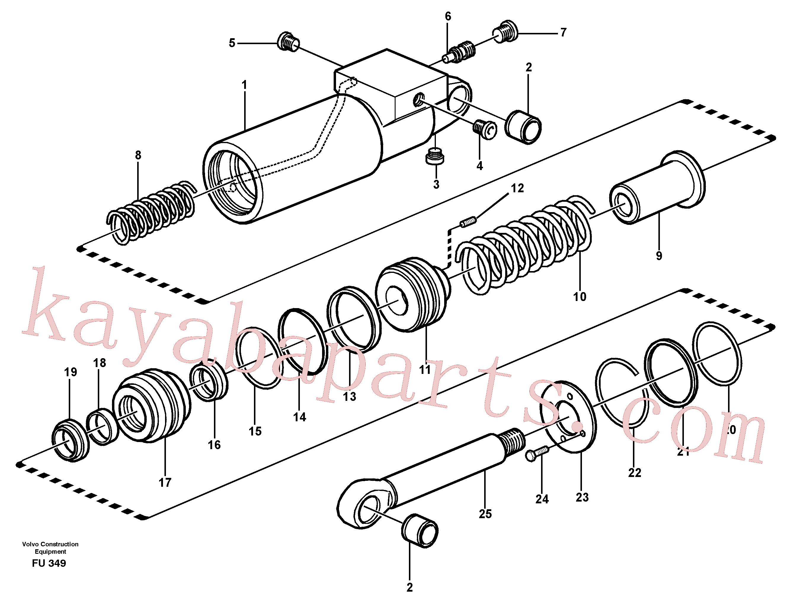 VOE993327 for Volvo Hydraulic cylinder(FU349 assembly)