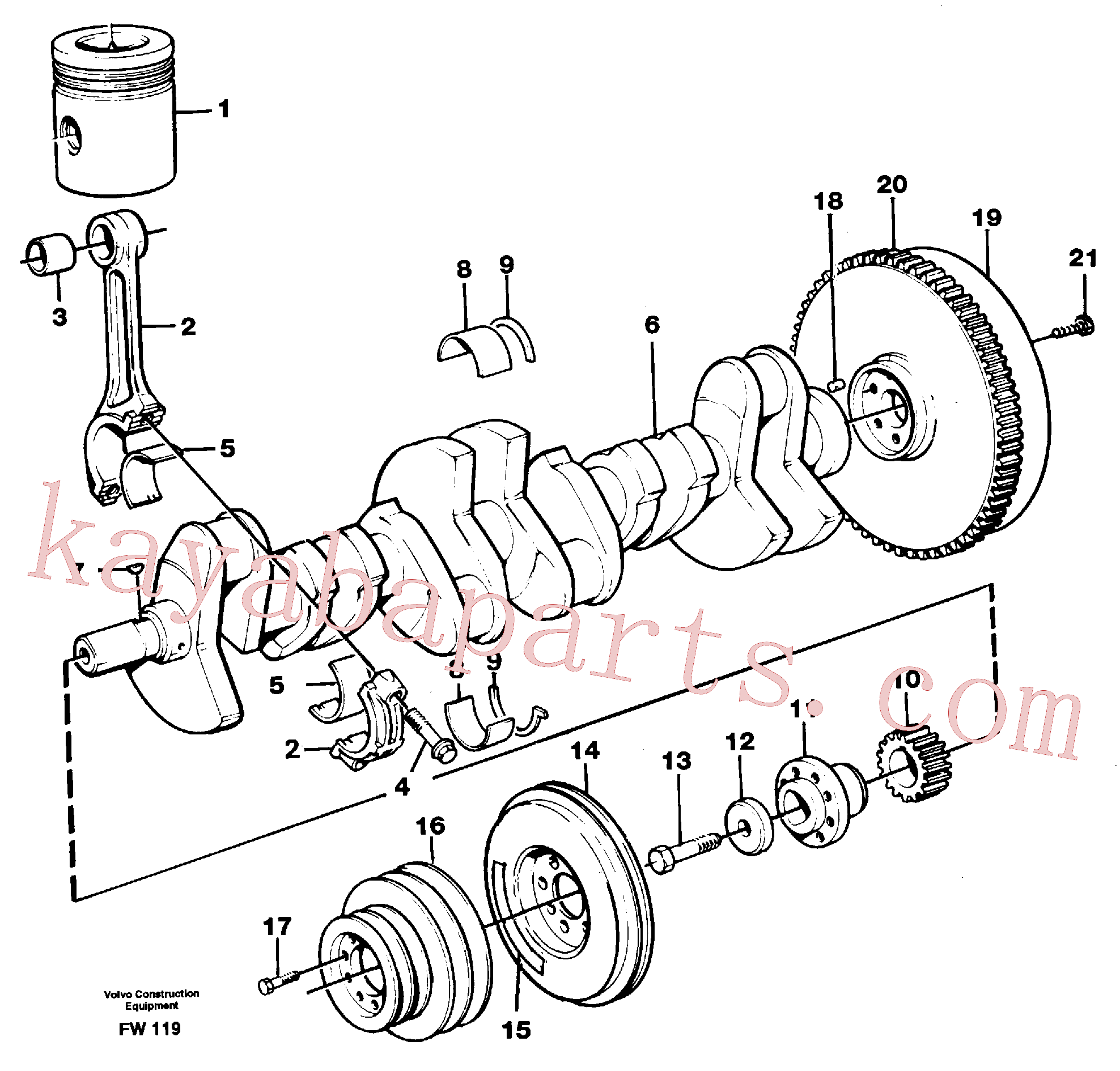 SA9324-21617 for Volvo Crankshaft and related parts(FW119 assembly)