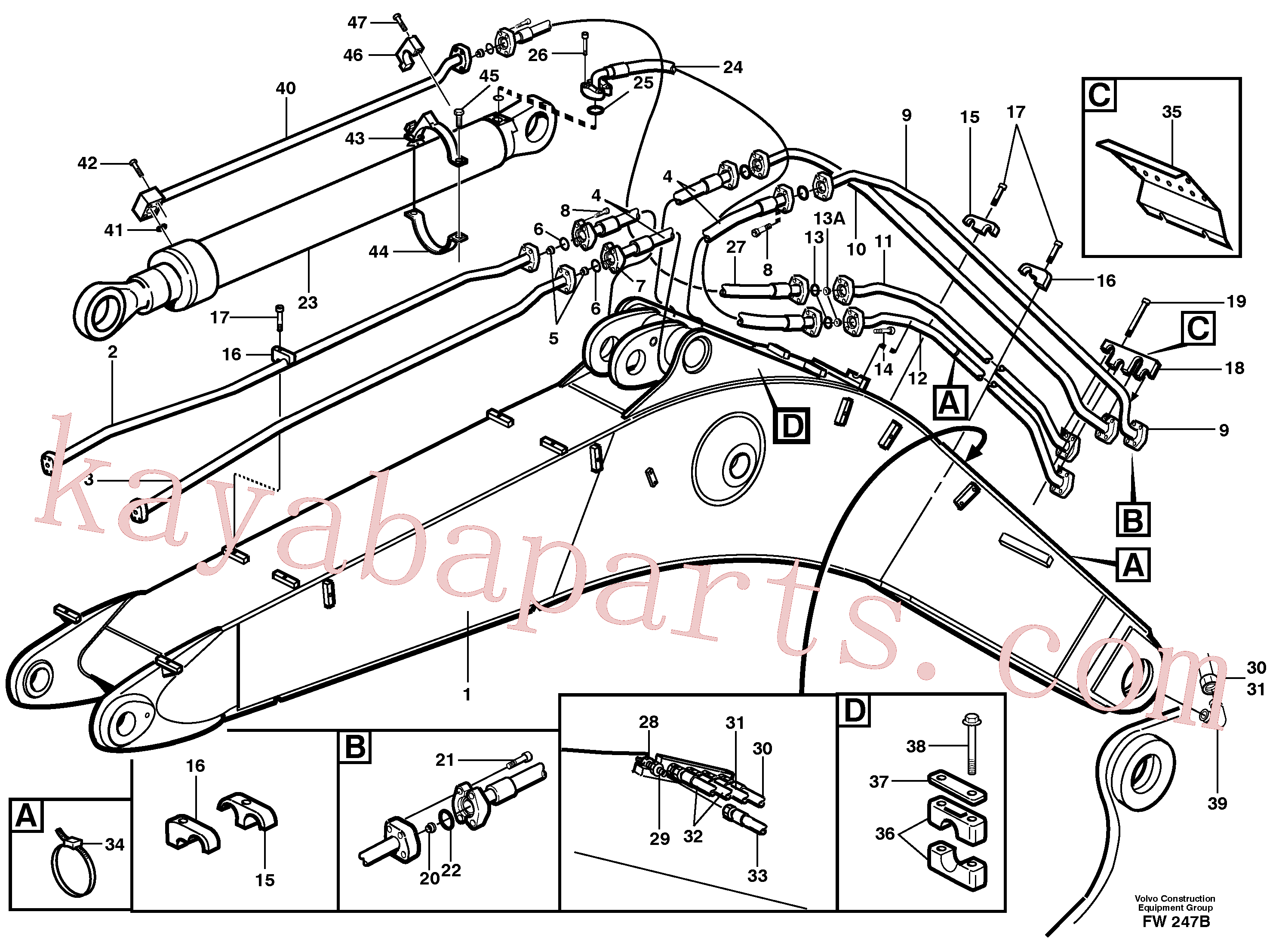 VOE14343351 for Volvo Tubes,assembly, boom(FW247B assembly)