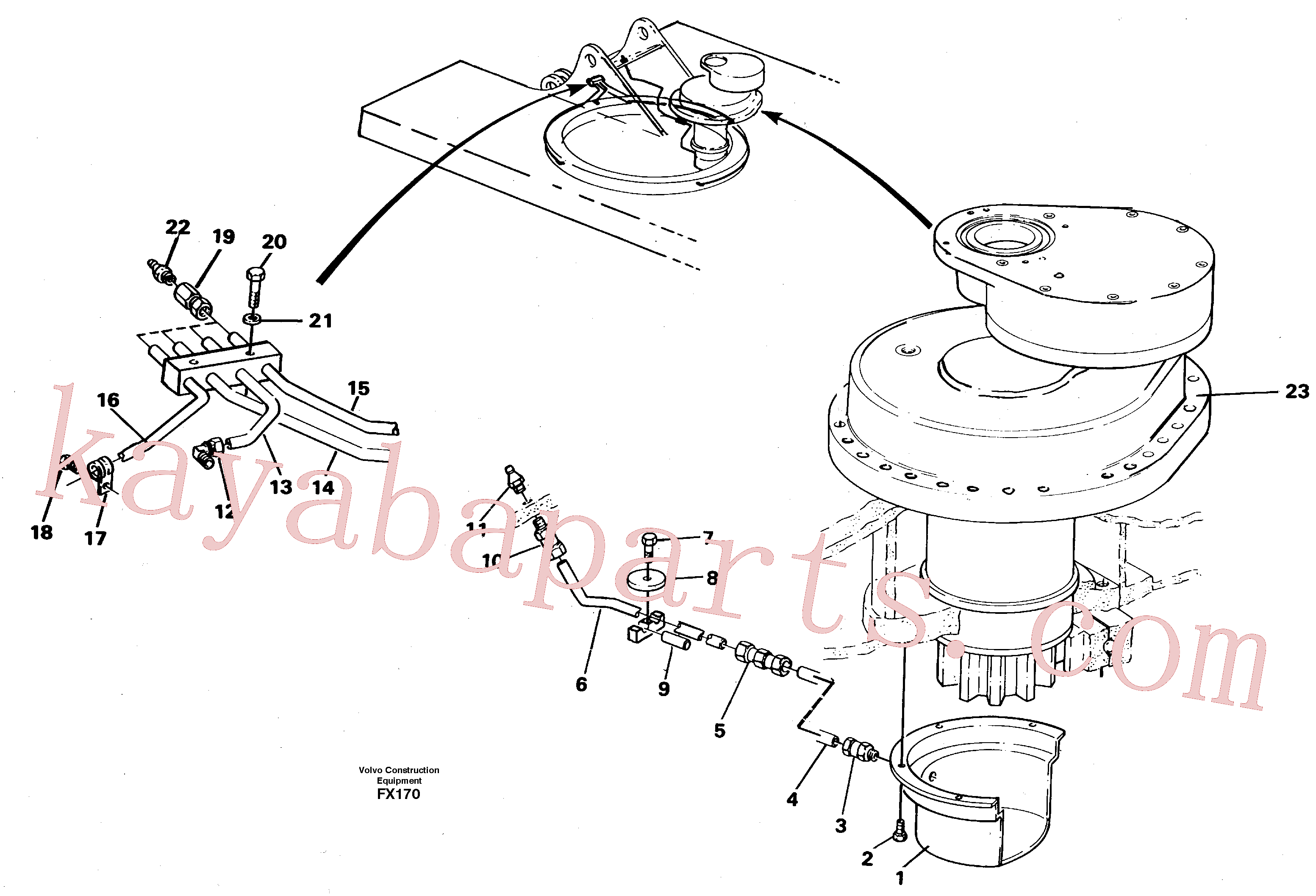 VOE14252310 for Volvo Slew transmission, lubricating pipe(FX170 assembly)
