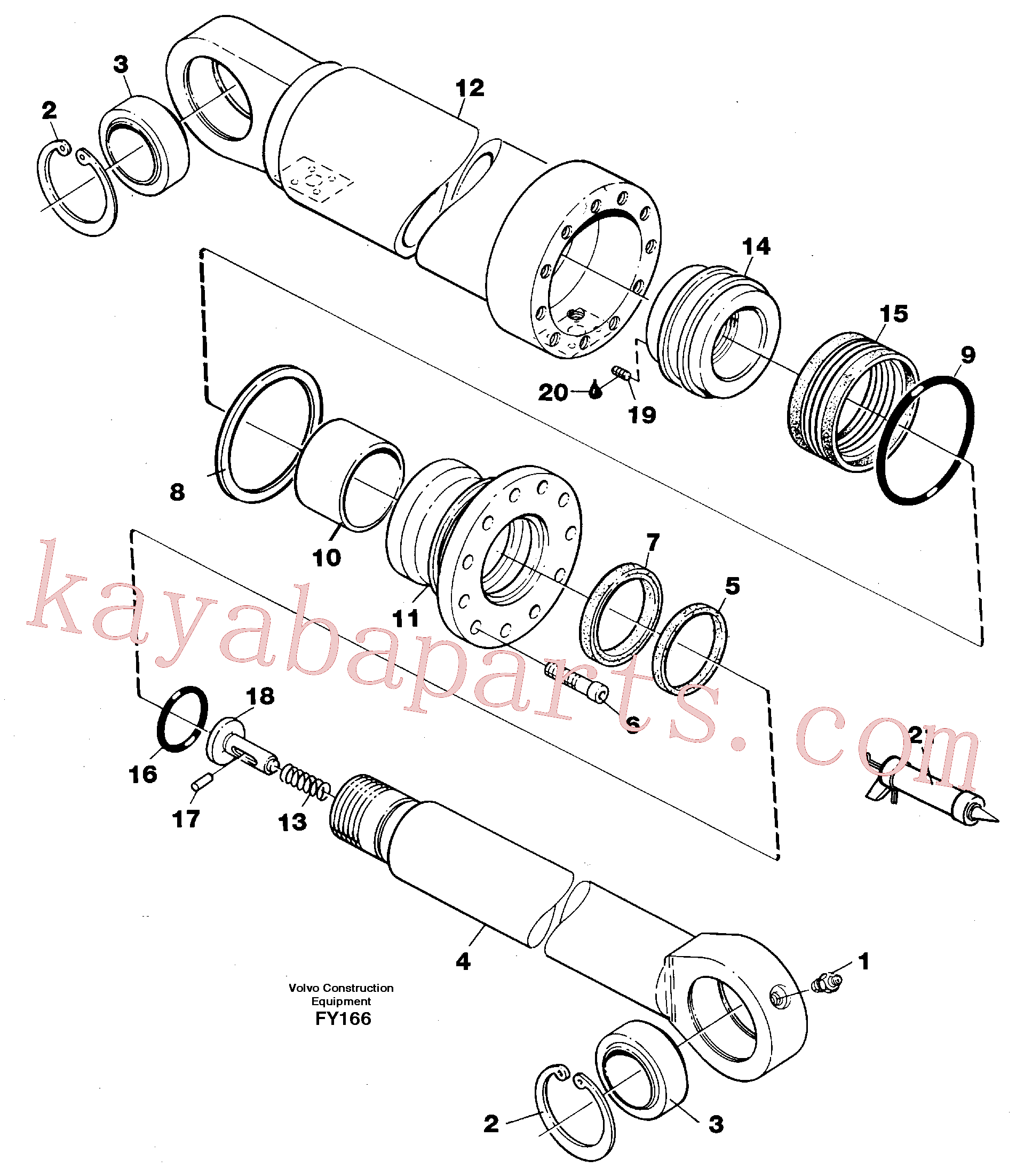 VOE11709519 for Volvo Hydraulic cylinder, stabilisor(FY166 assembly)