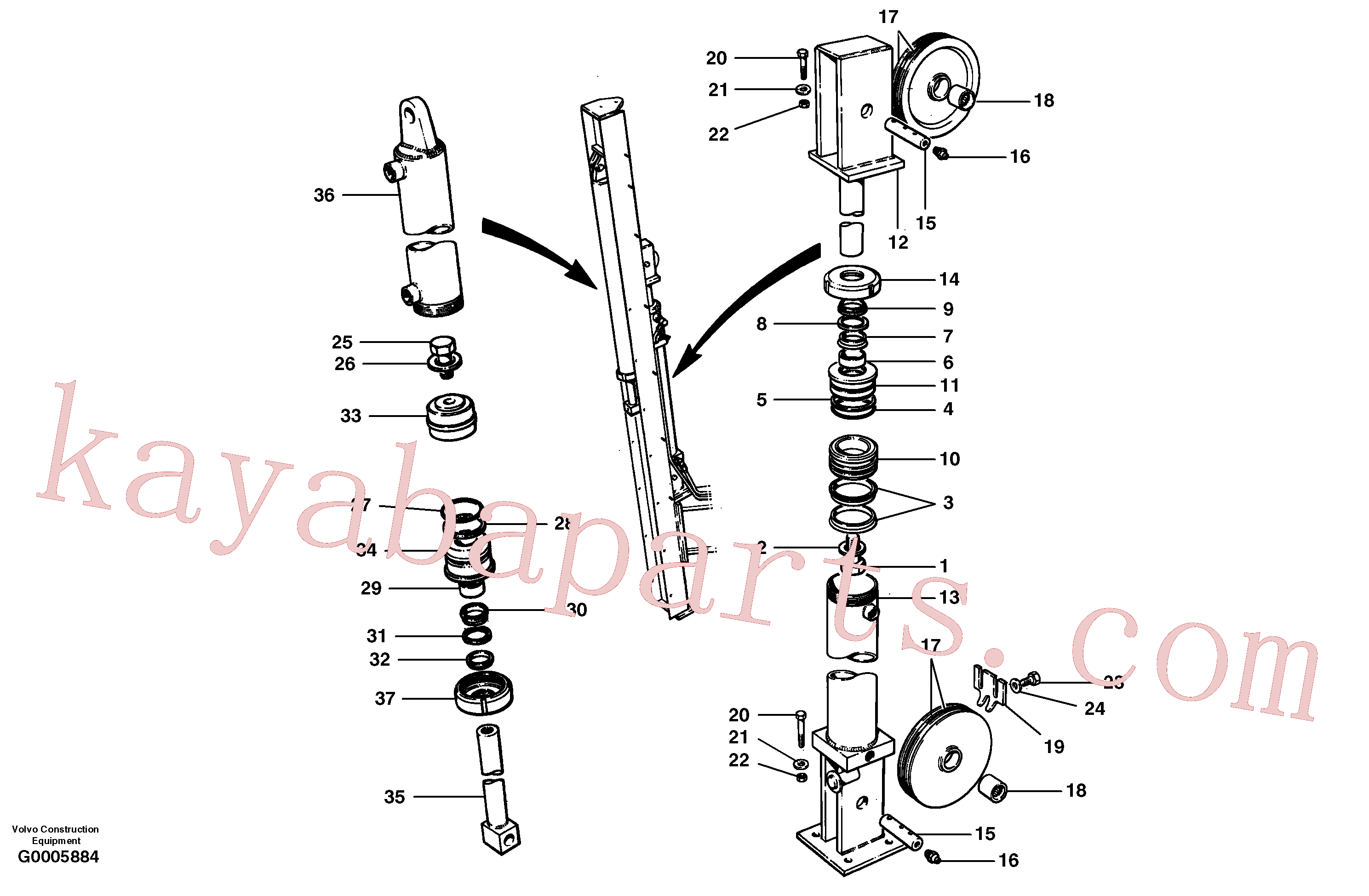 CH44266 for Volvo Wing cylinders - rear mast - cable wing(G0005884 assembly)