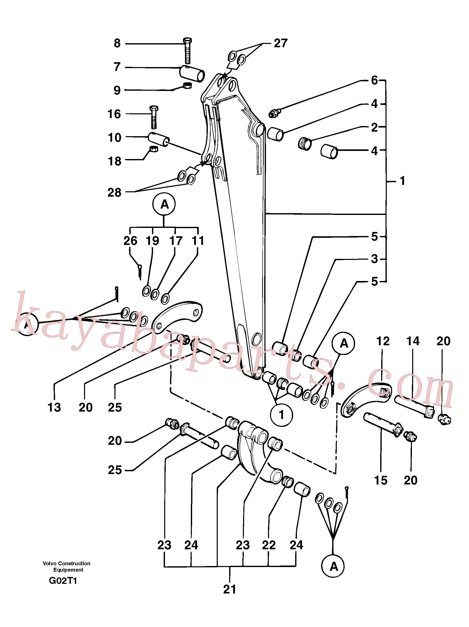 PJ4550065 for Volvo Dipper arm(G02T1 assembly)