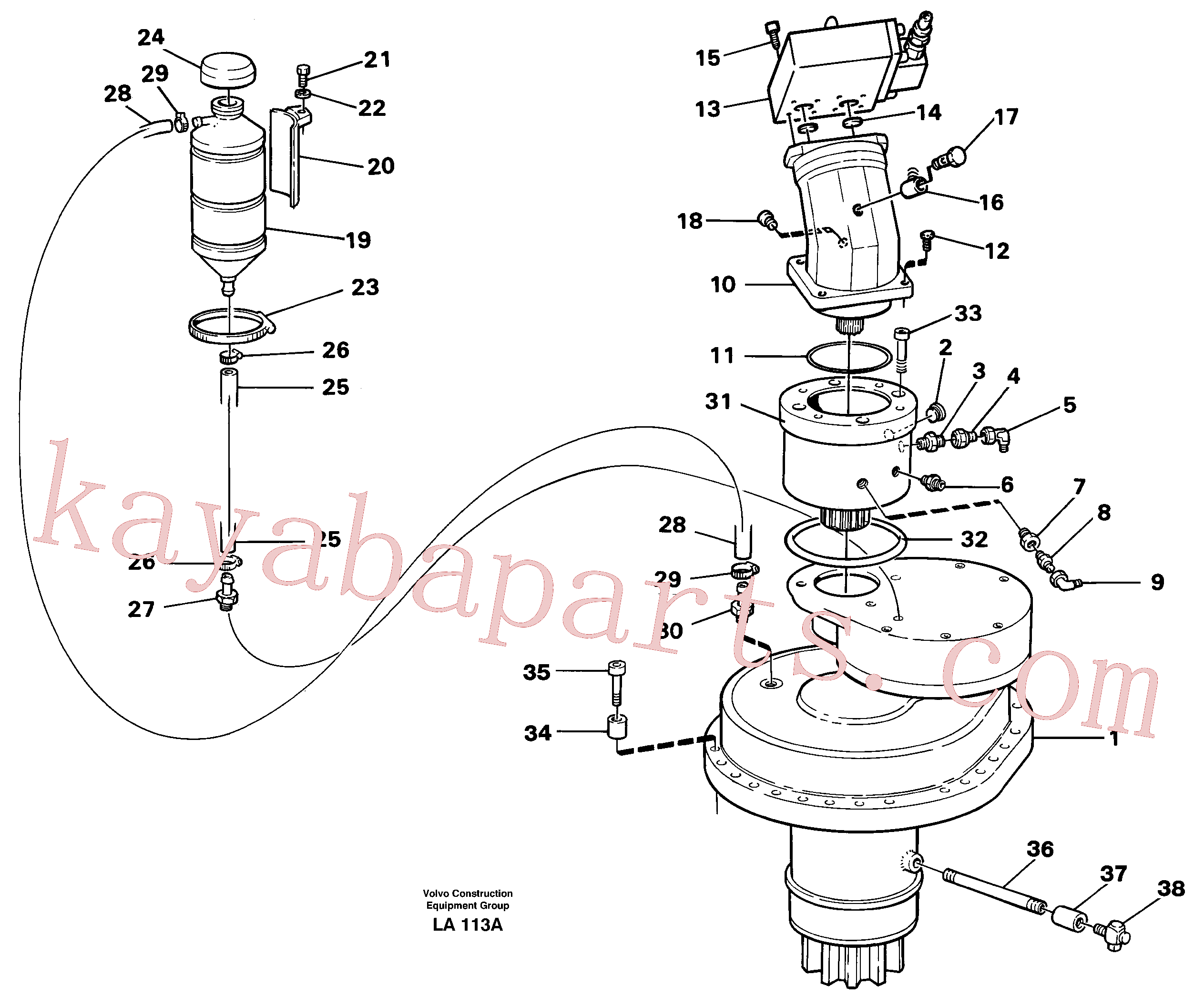 VOE14247582 for Volvo Slewing gear box with fitting parts(LA113A assembly)