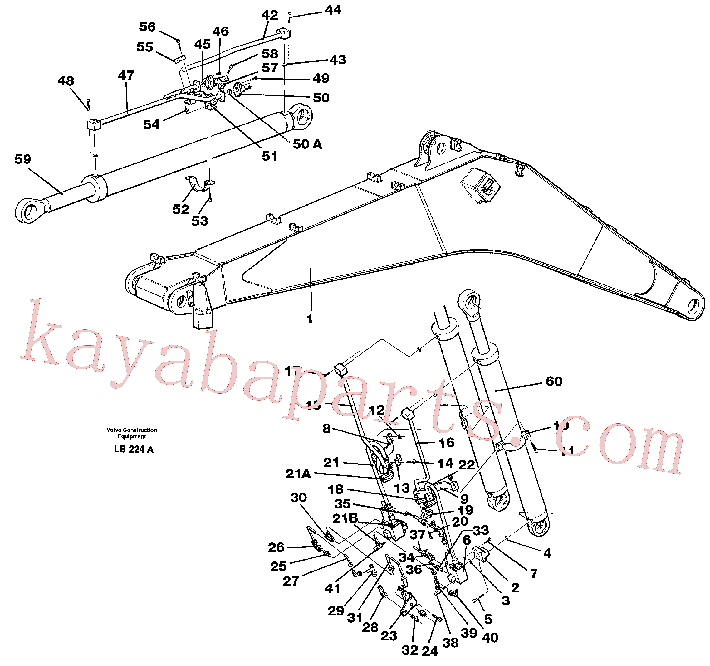 VOE14257335 for Volvo Cylinder hydraulics, backhoe boom(LB224A assembly)
