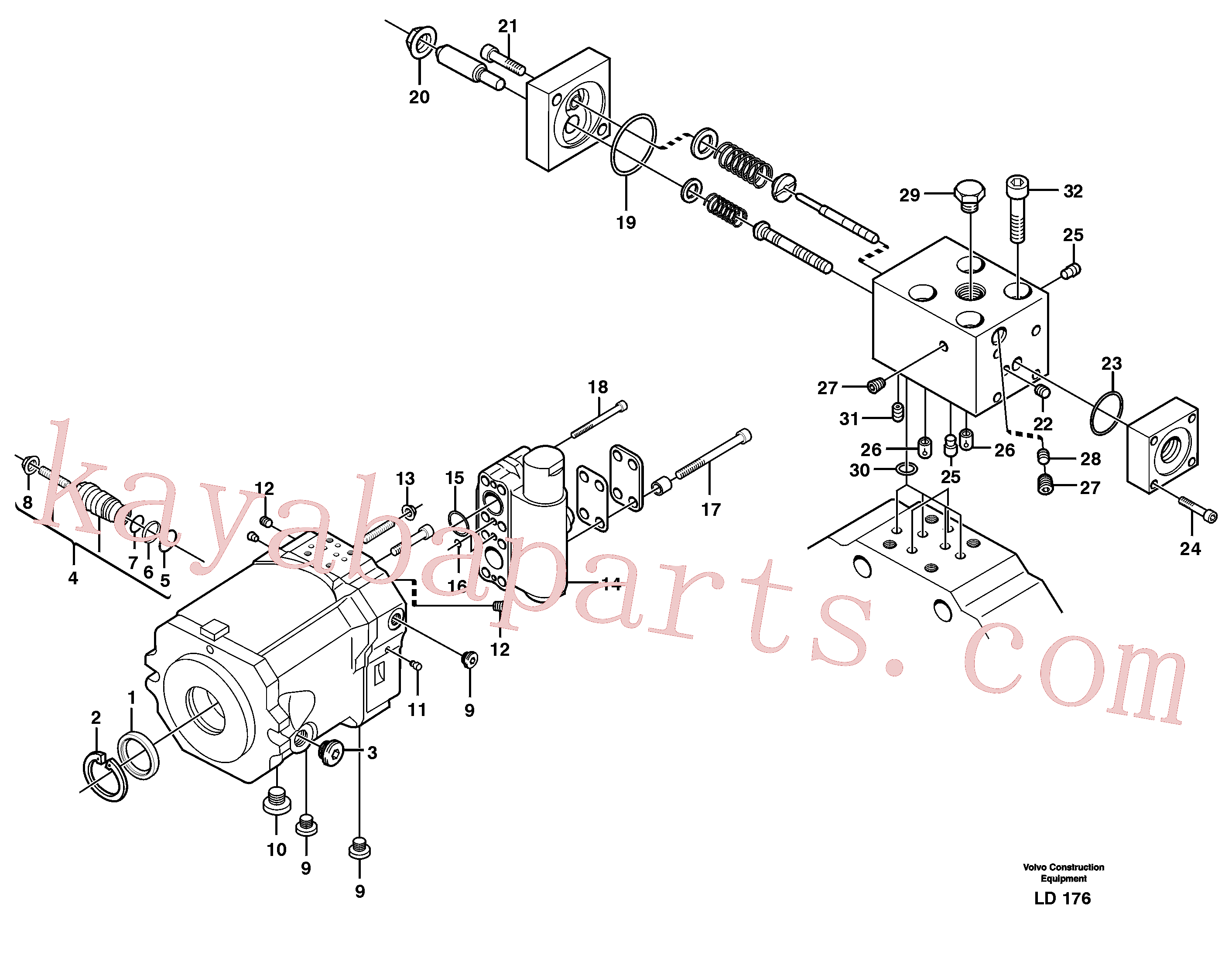 VOE11713994 for Volvo Hydraulic motor, travel(LD176 assembly)