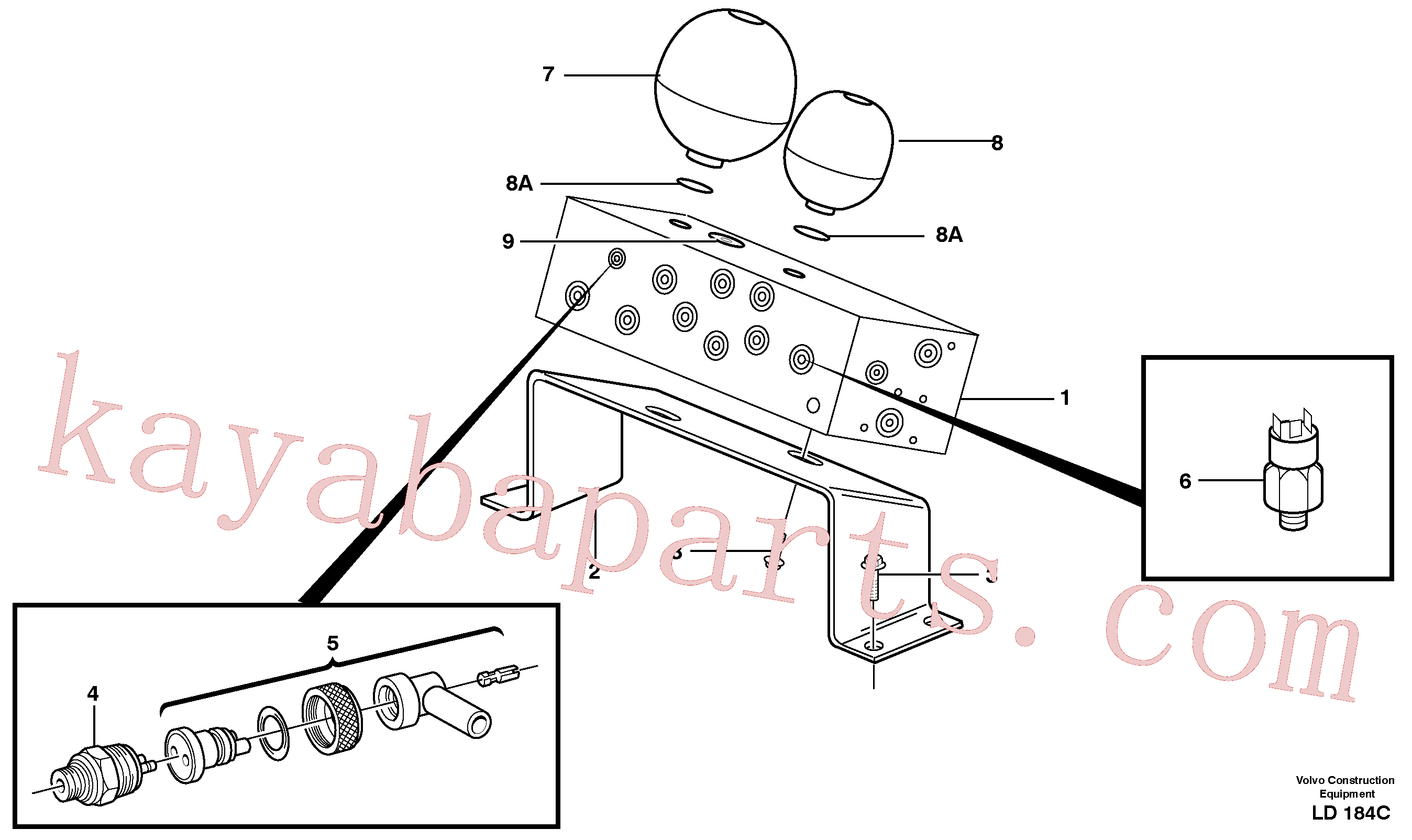 VOE14023407 for Volvo Servo valve body with fitting parts(LD184C assembly)