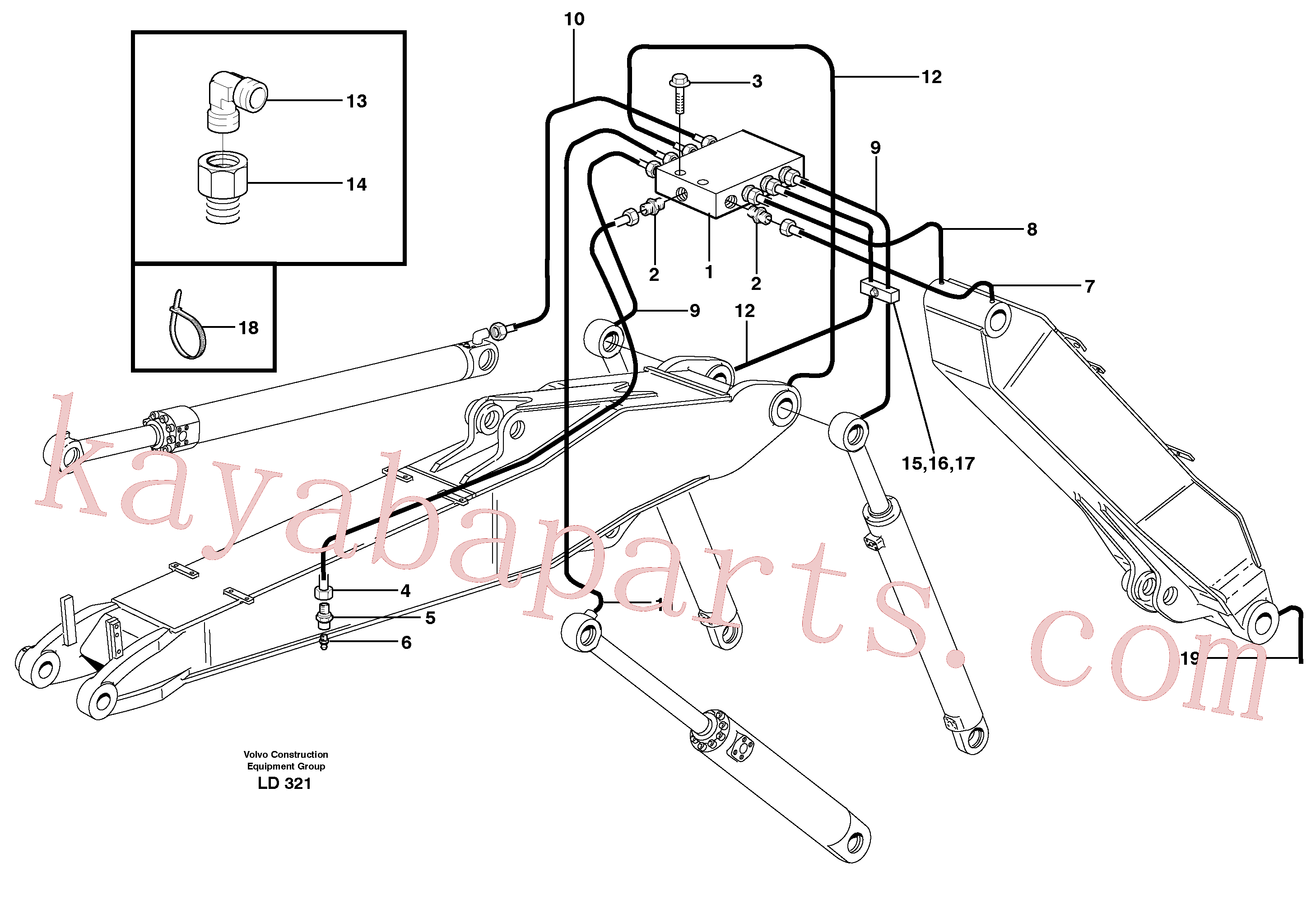 VOE11706652 for Volvo Central lubrication, adjustable boom(LD321 assembly)
