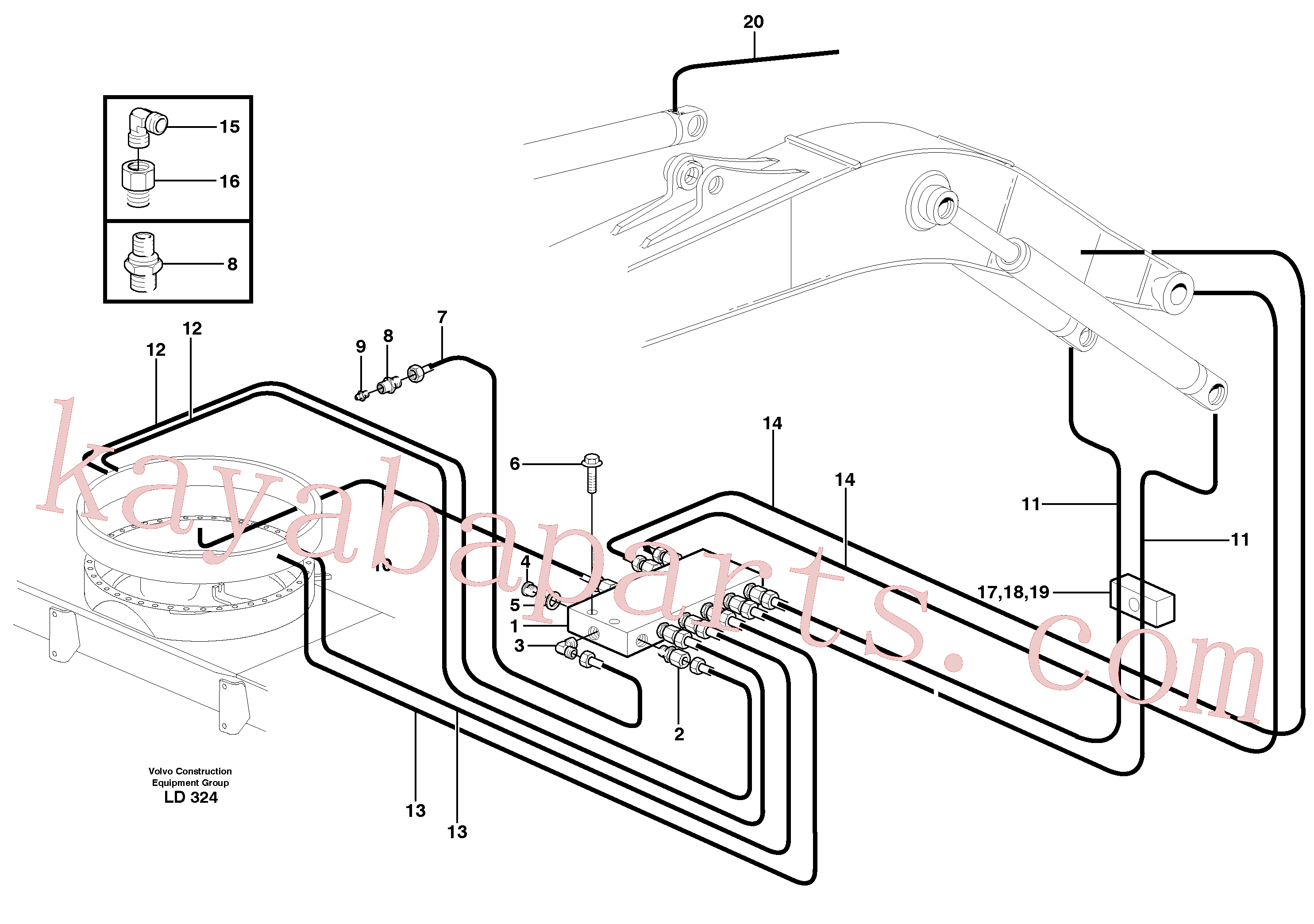 VOE11052546 for Volvo Central lubrication. slewing, mono boom(LD324 assembly)