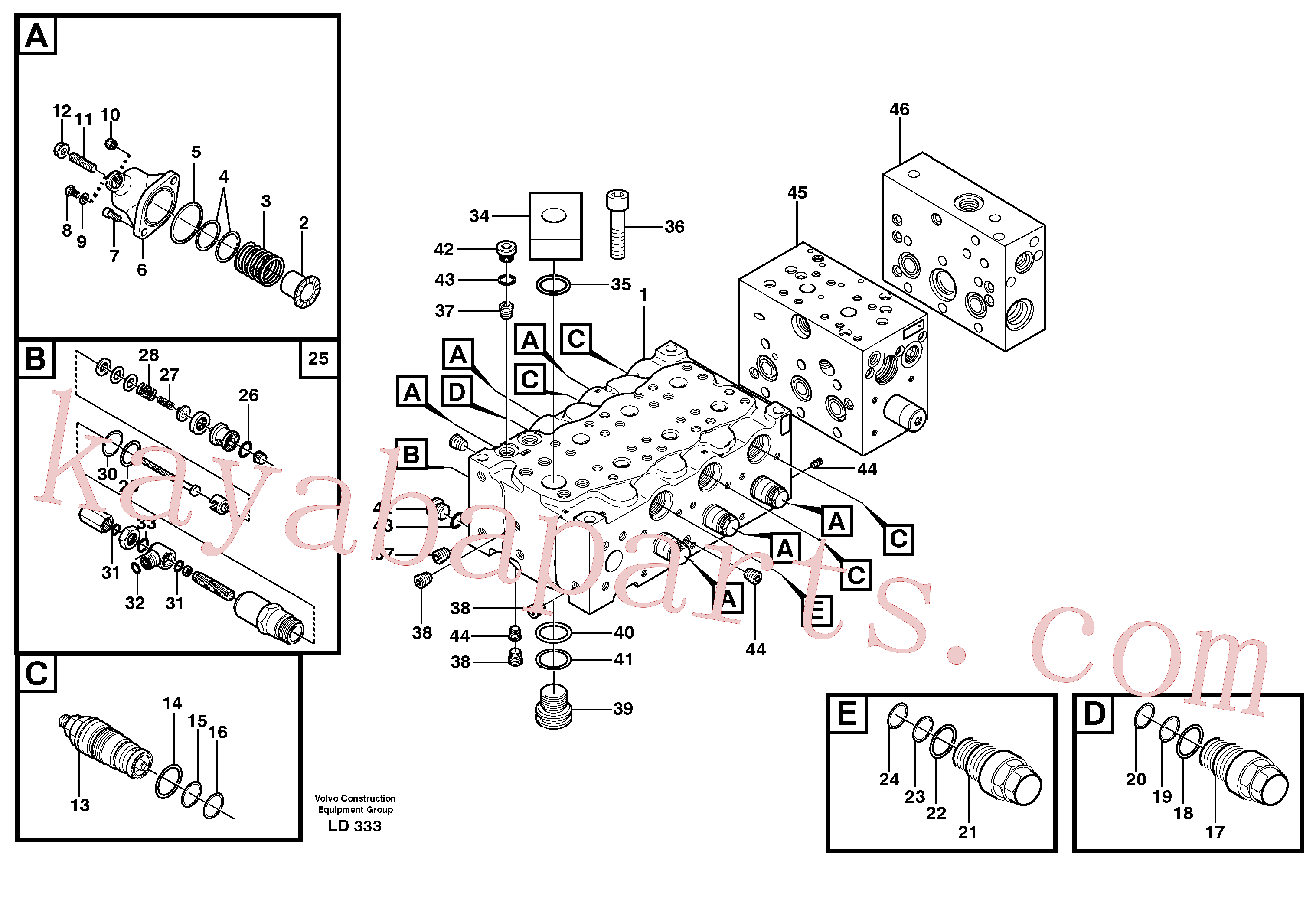 VOE11704854 for Volvo Main valve assembly, B(LD333 assembly)