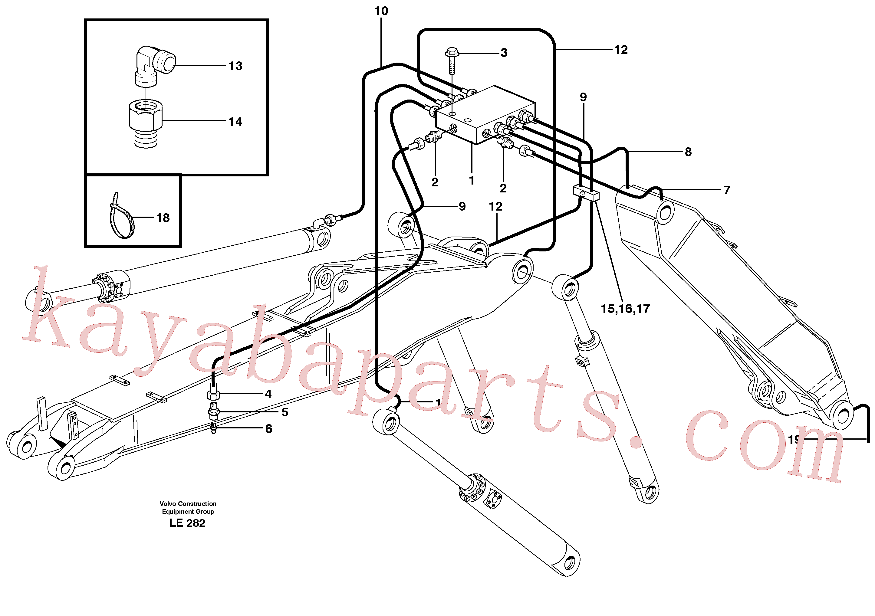 VOE11706652 for Volvo Central lubrication, adjustable boom(LE282 assembly)