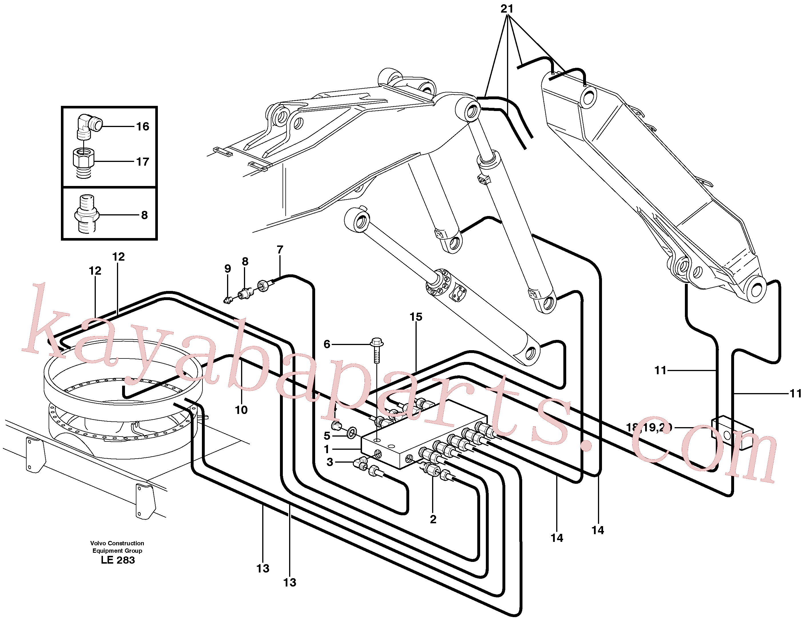 VOE11052546 for Volvo Central lubrication. slewing, adjustable boom(LE283 assembly)