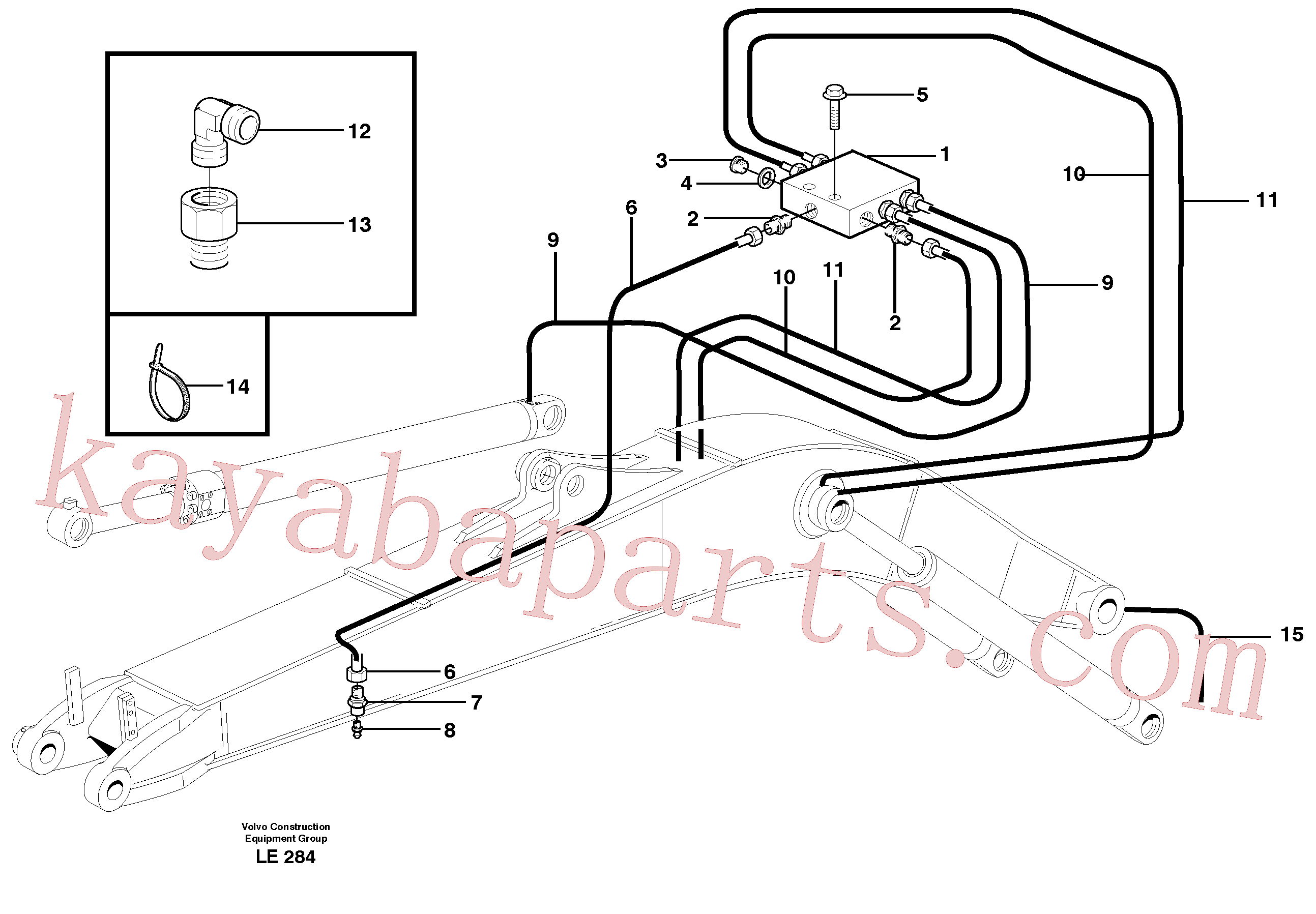 VOE11706652 for Volvo Central lubrication, mono boom(LE284 assembly)