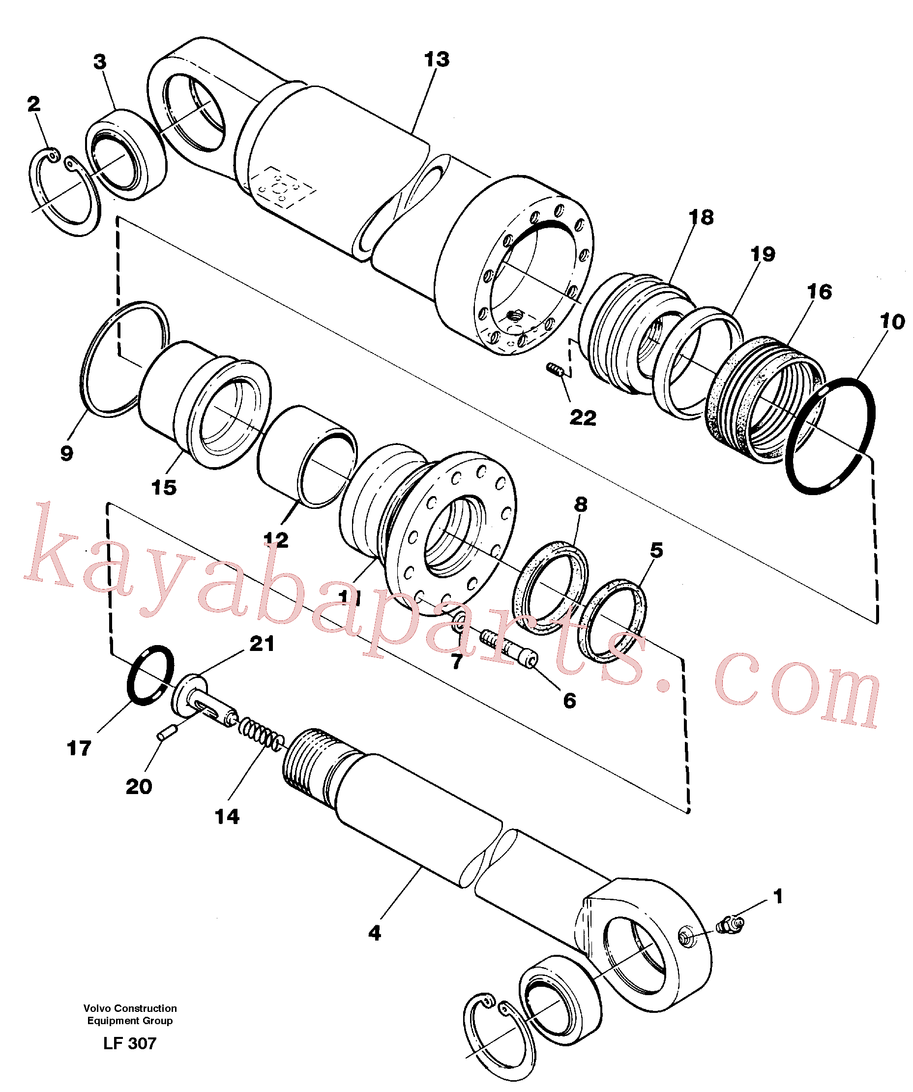 VOE11709519 for Volvo Hydraulic cylinder, stabilisor(LF307 assembly)