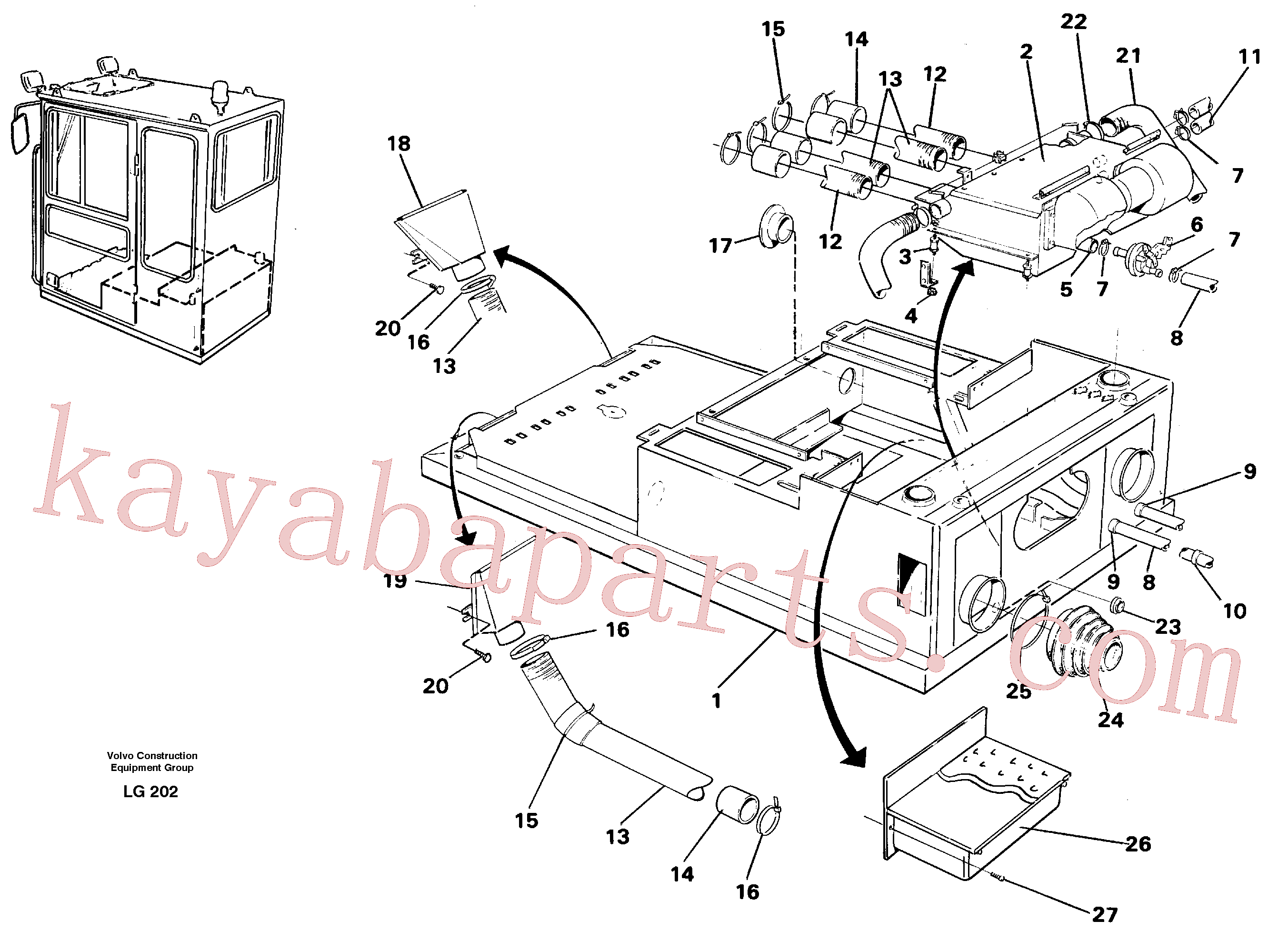 VOE14245652 for Volvo Cab heater with fitting parts(LG202 assembly)